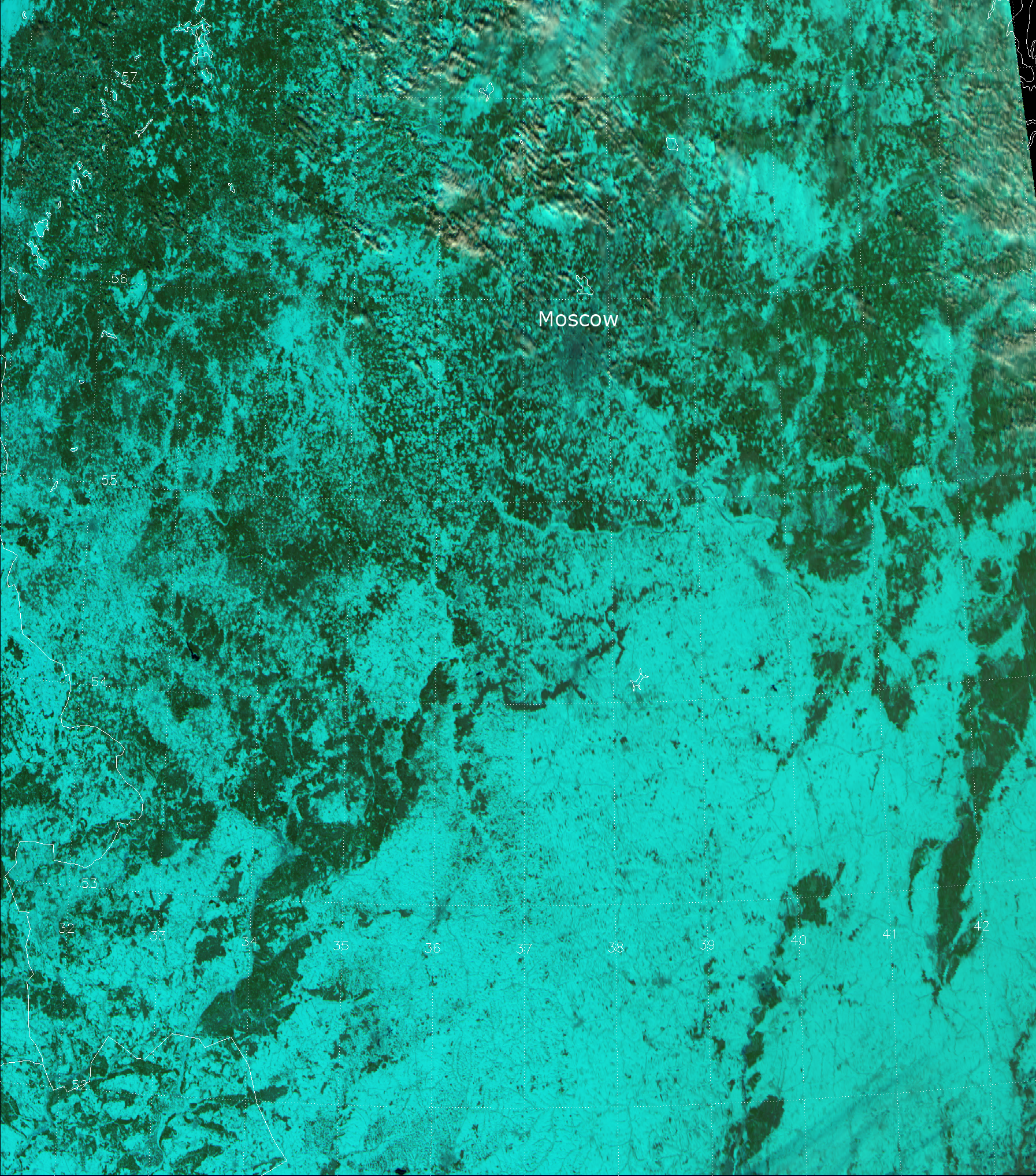 False color RGB composite of VIIRS channels I-01, I-02 and I-03, taken 10:38 UTC 28 March 2013