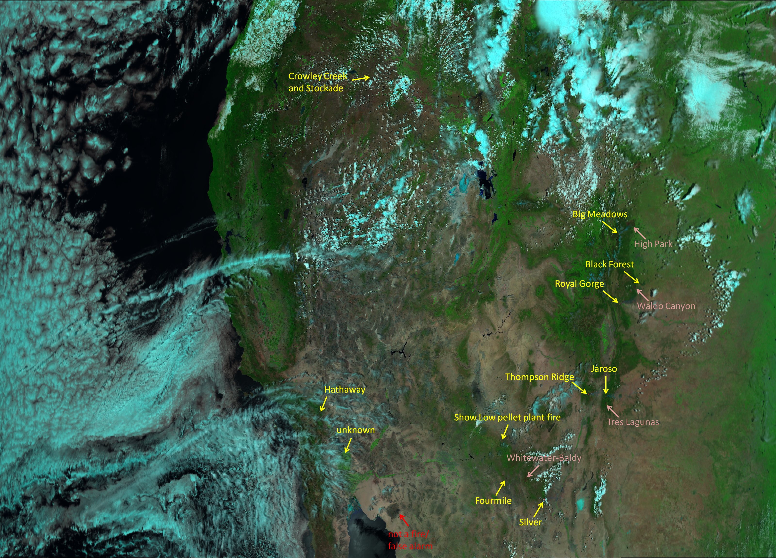 """VIIRS """"Natural Fire Color"""" composite of channels M-05, M-07 and M-11, taken 20:36 UTC 11 June 2013"""