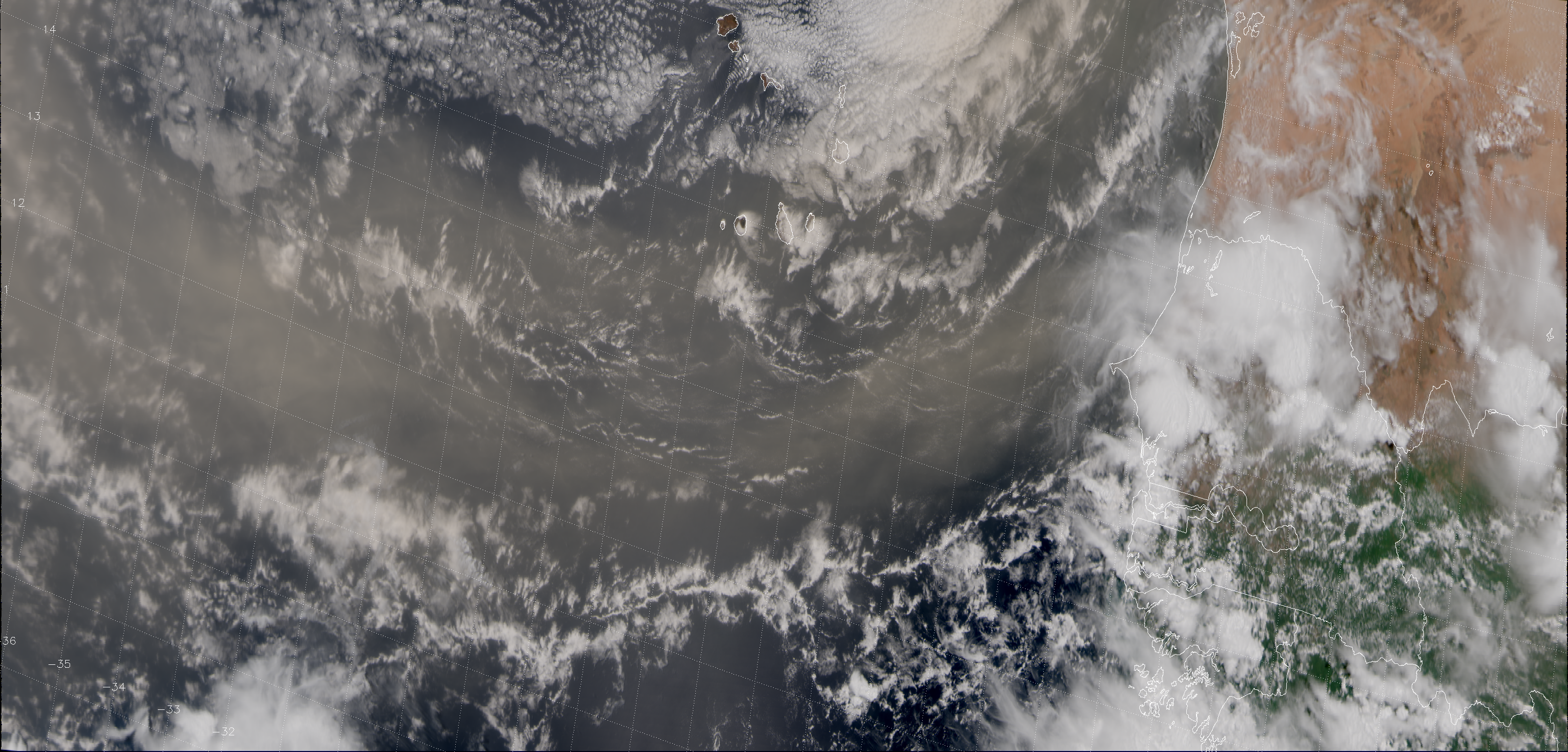 """VIIRS """"True Color"""" RGB composite of channels M-03, M-04 and M-05, taken 14:48 UTC 31 July 2013"""