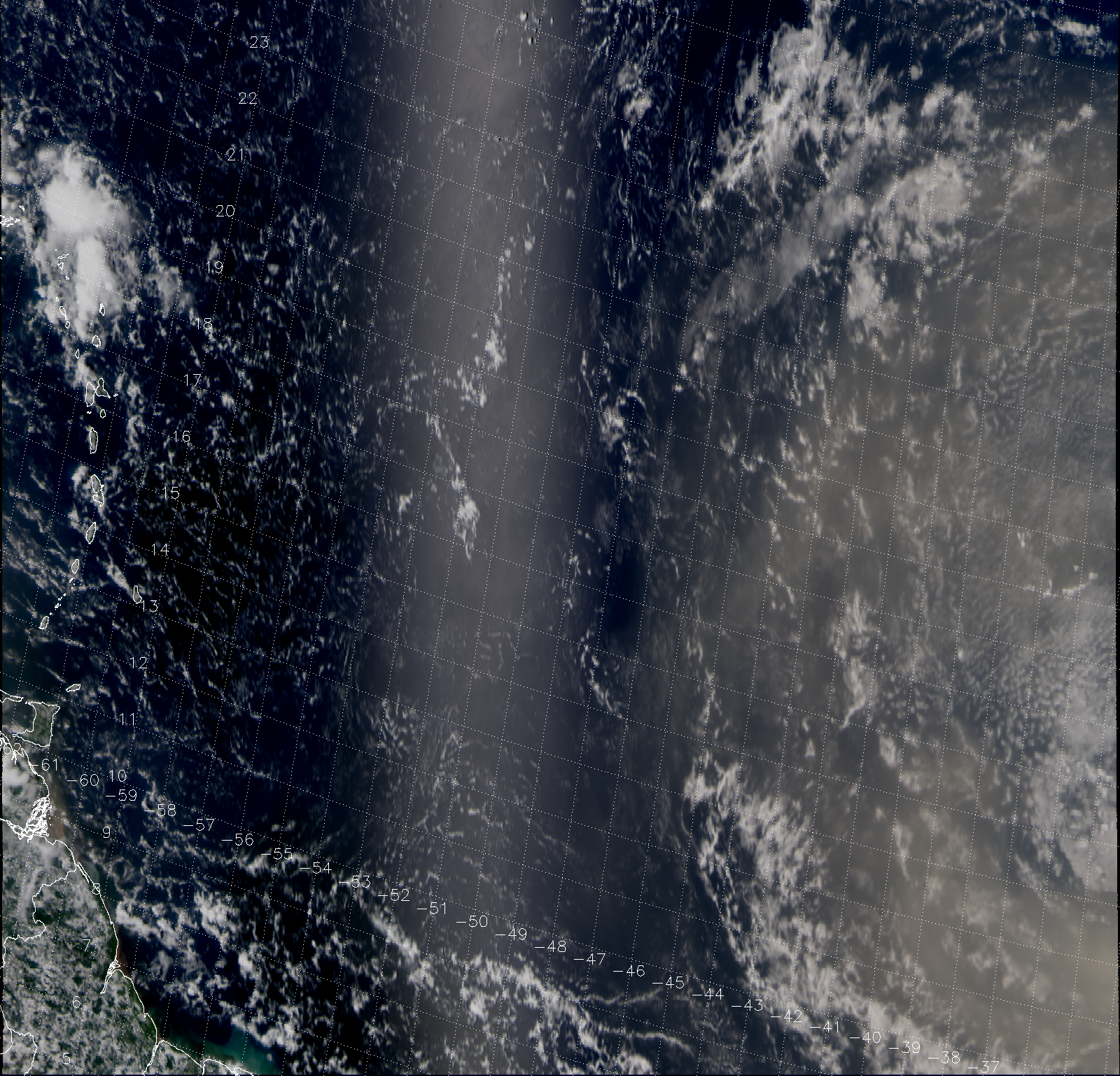 "VIIRS ""True Color"" RGB composite of channels M-03, M-04 and M-05, taken 16:29 UTC 31 July 2013"