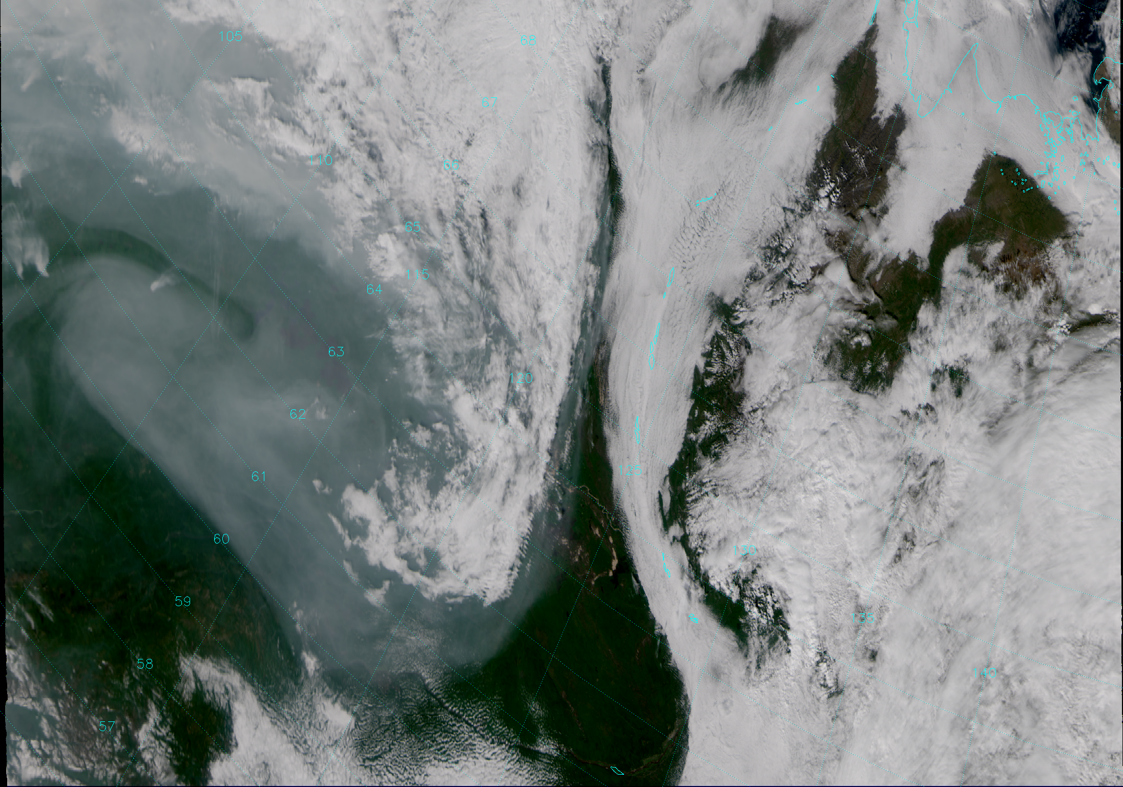 """VIIRS""""True Color"""" composite of channels M-3, M-4 and M-5, taken 03:12 UTC 16 August 2013."""