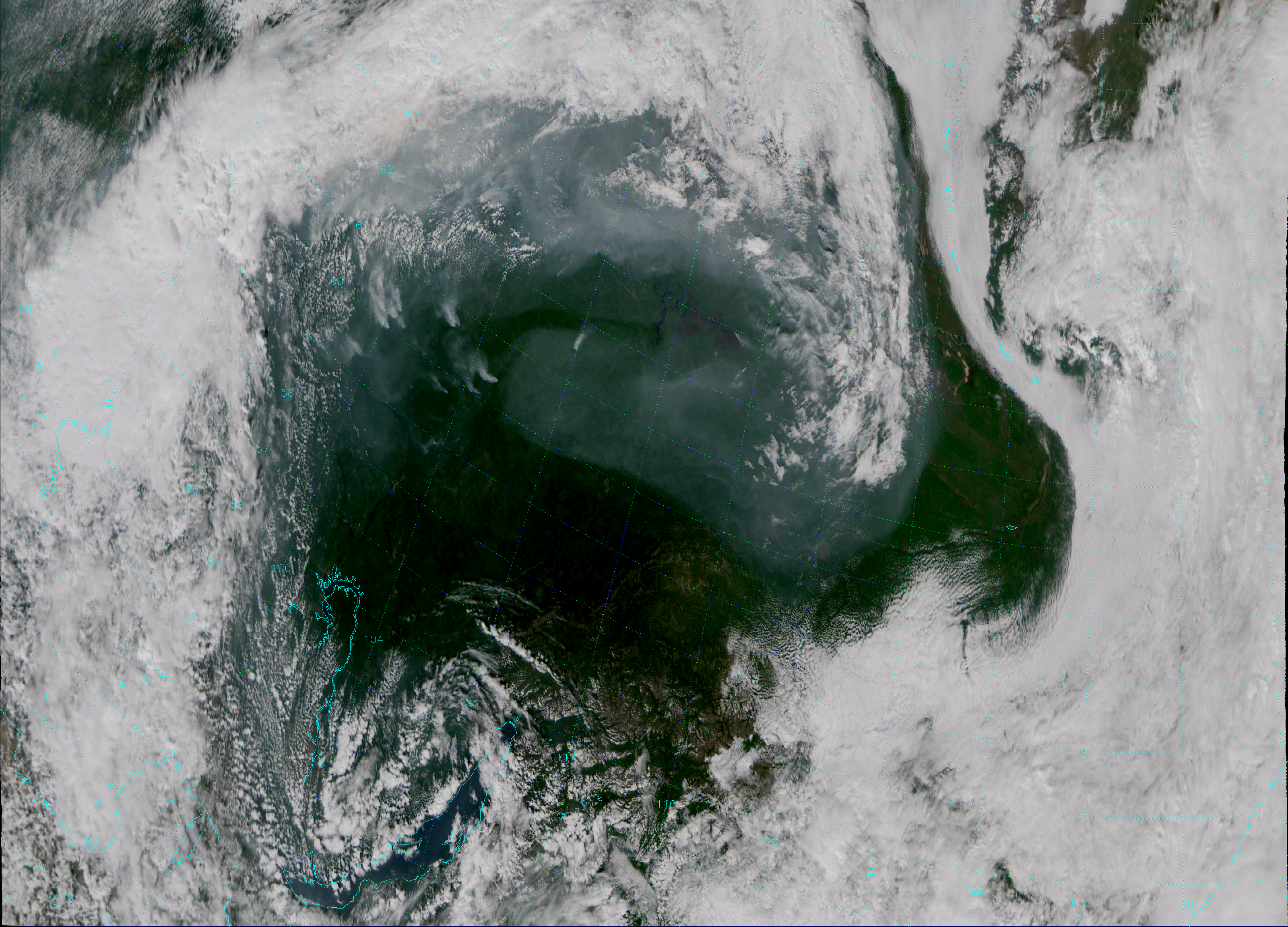 """VIIRS """"True Color"""" composite of channels M-3, M-4 and M-5, taken 04:52 UTC 16 August 2013."""