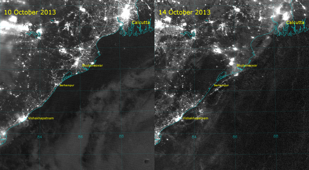 VIIRS Day/Night Band images from before and after Super Cyclone Phailin made landfall along the east coast of India.