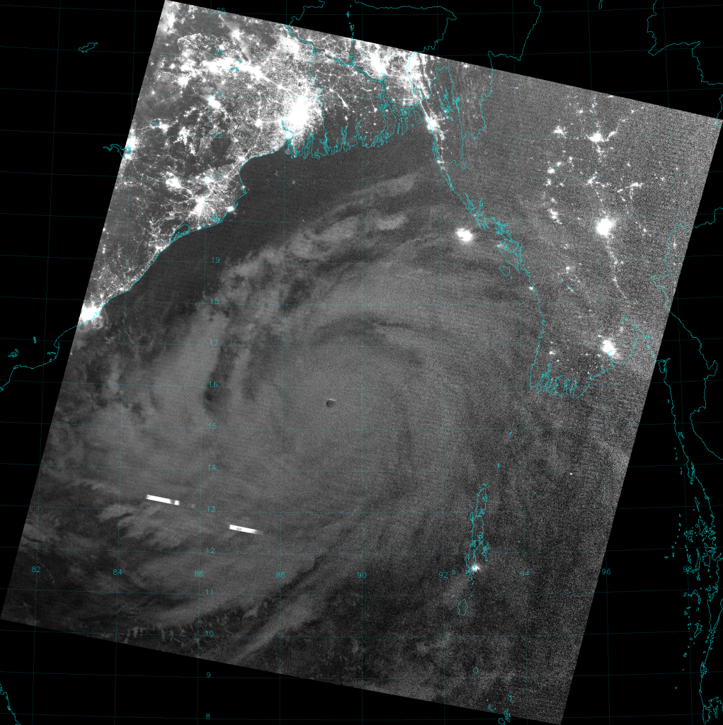 VIIRS Day/Night Band image of Super Cyclone Phailin, taken 20:04 UTC 10 October 2013