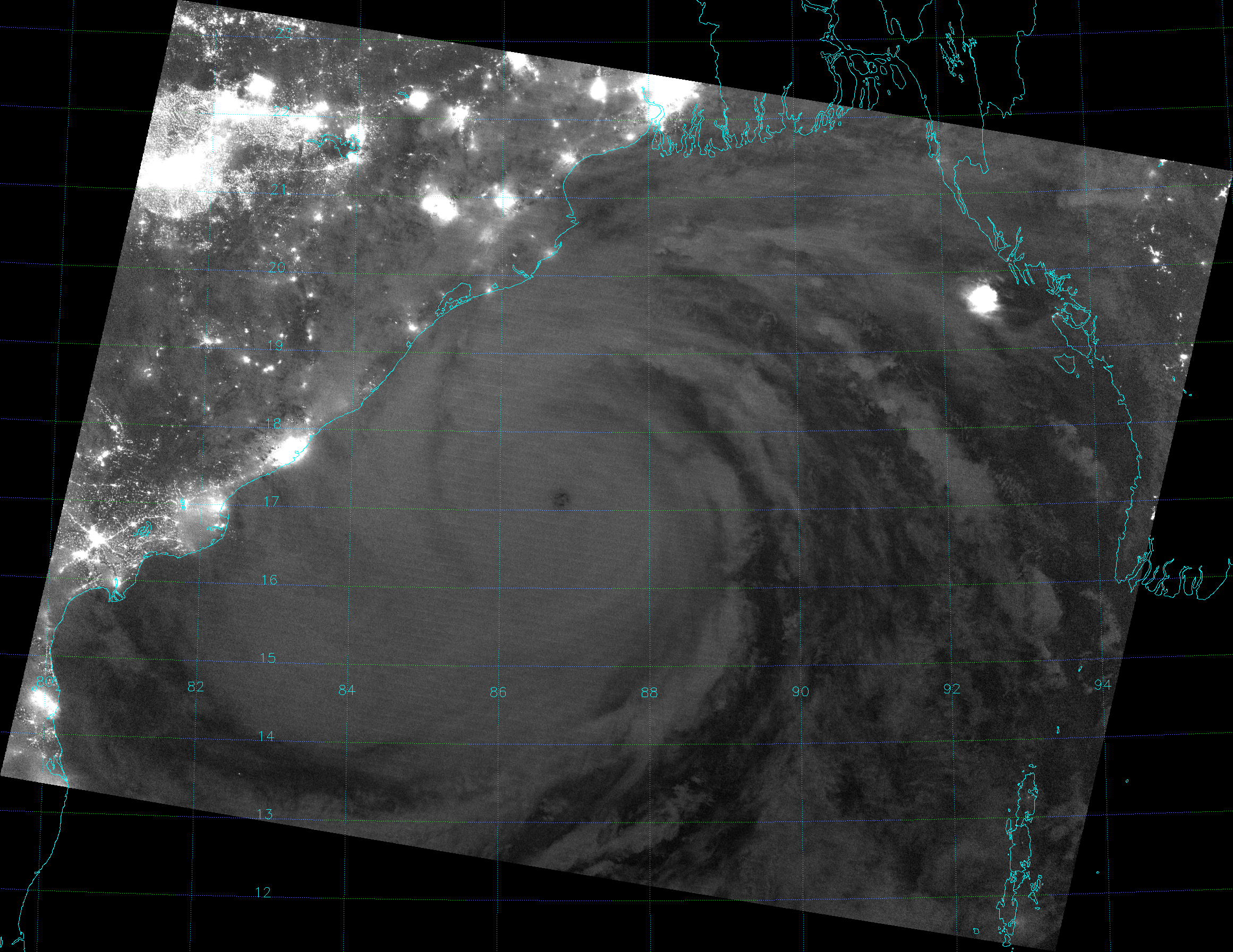 VIIRS Day/Night Band image of Super Cyclone Phailin, taken 19:45 UTC 11 October 2013