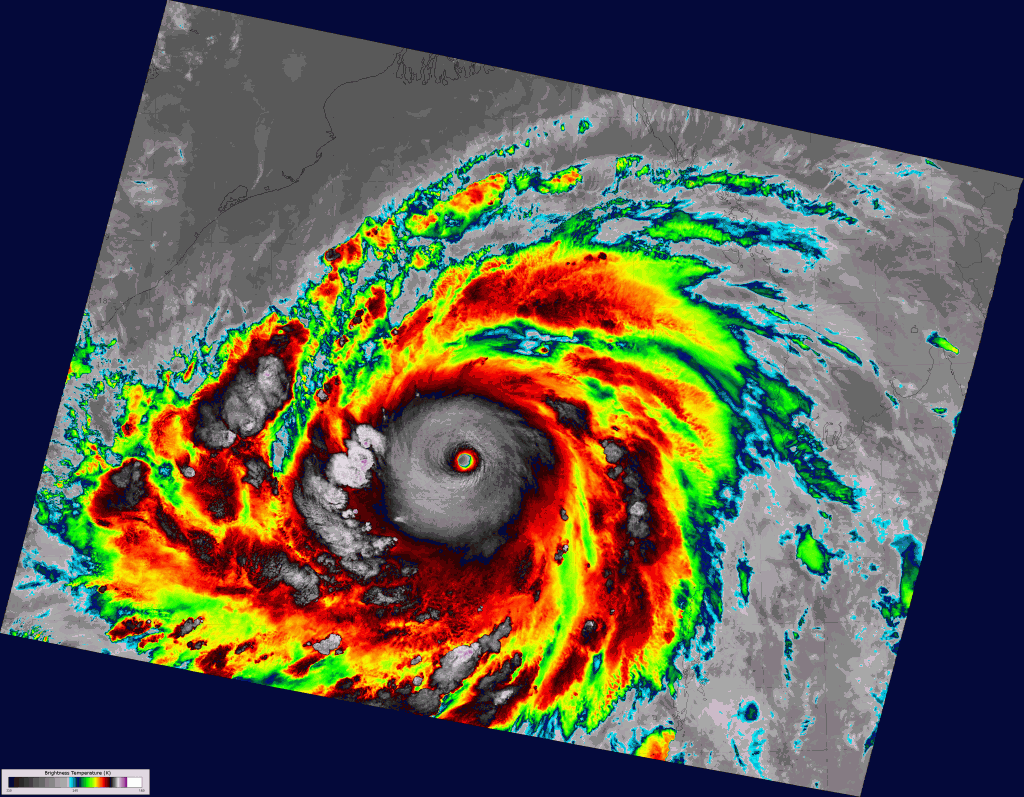 VIIRS high-resolution IR image of Super Cyclone Phailin, taken 20:04 UTC 10 October 2013