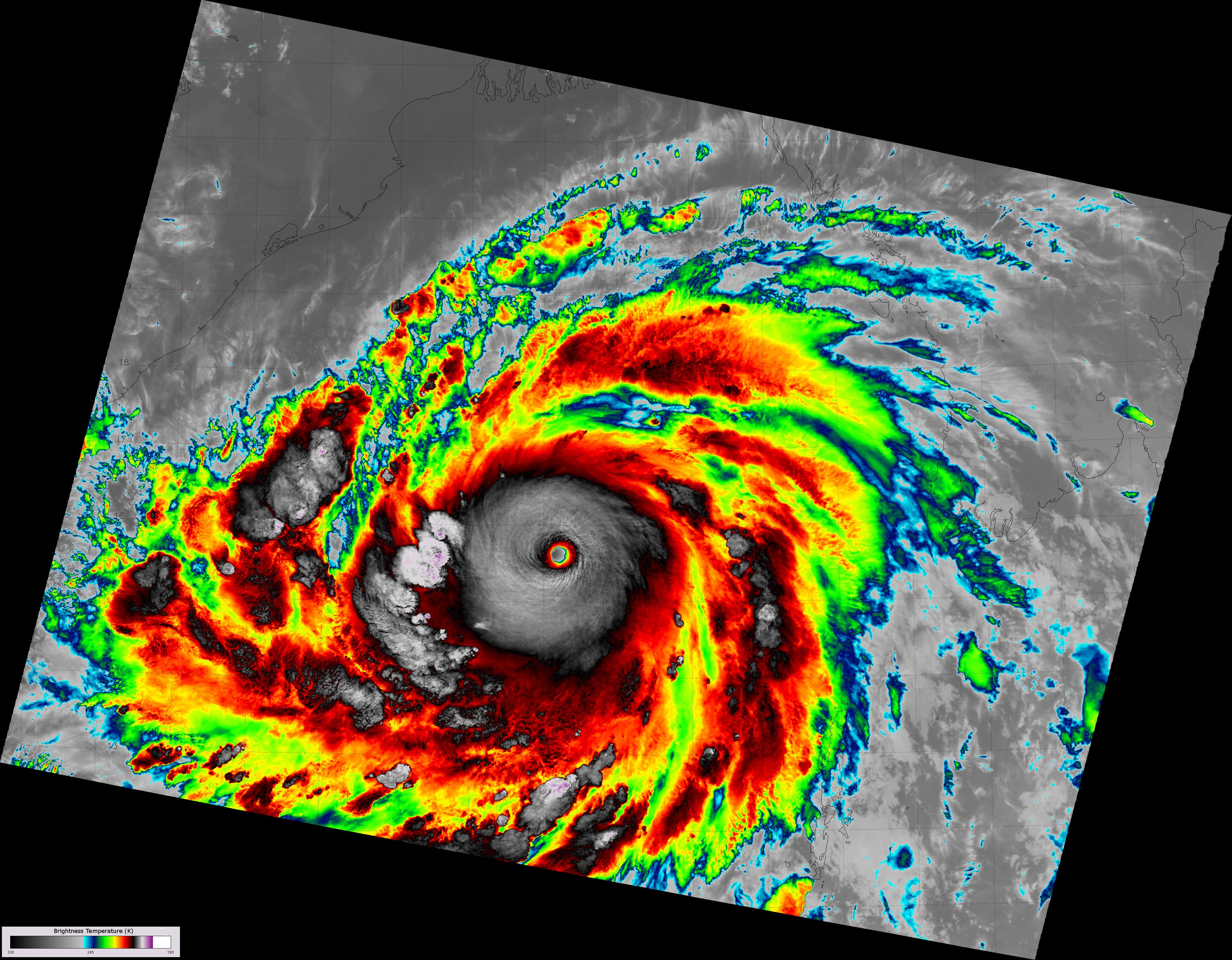 VIIRS high-resolution IR image of Super Cyclone Phailin, taken 20:04 UTC 10 October 2013