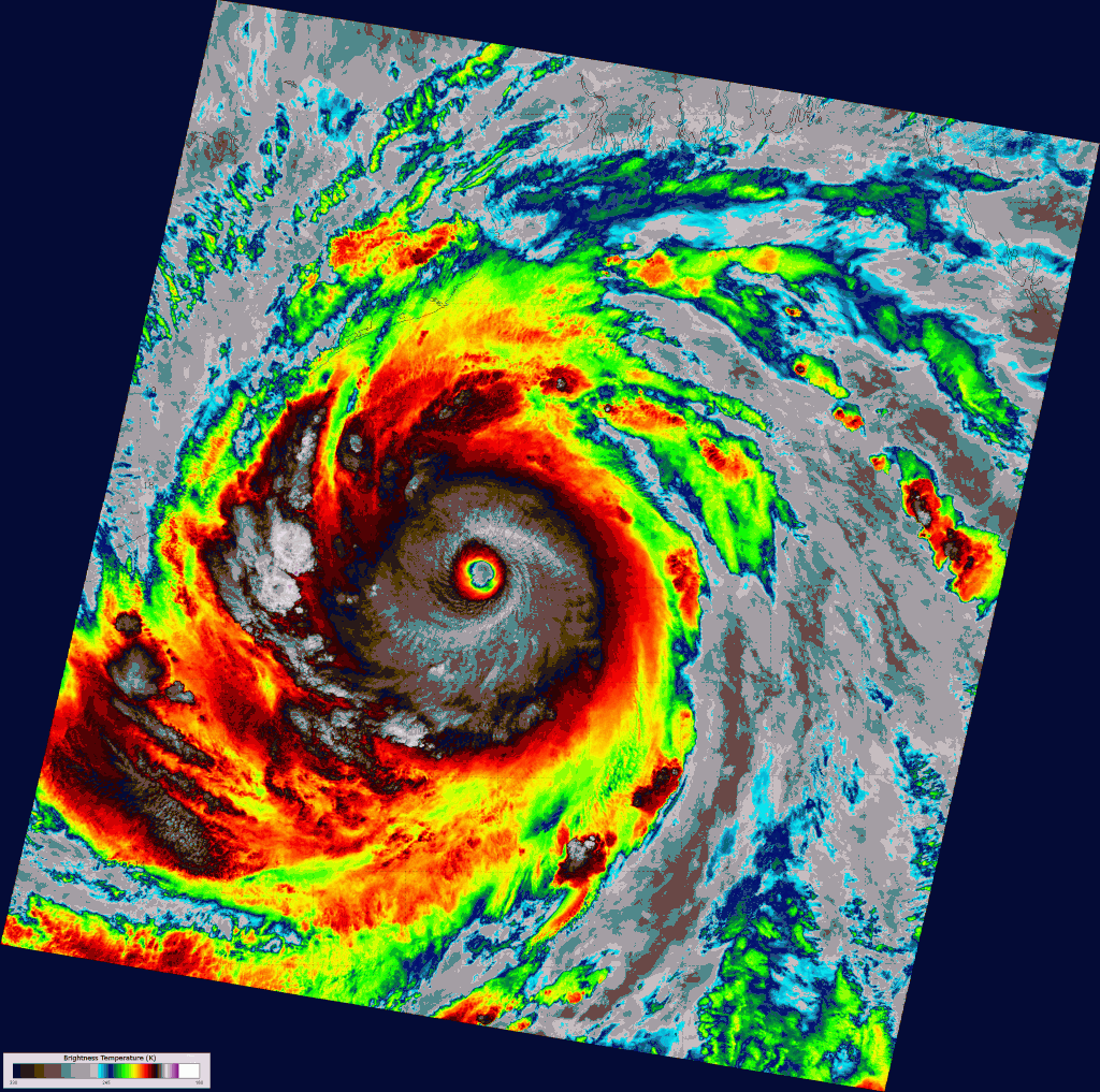 VIIRS channel I-05 image of Super Cyclone Phailin, taken 19:45 UTC 11 October 2013