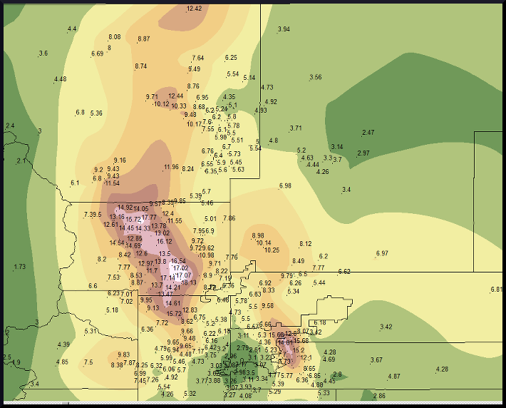 Preliminary rainfall totals over Northern Colorado, 9-16 September 2013