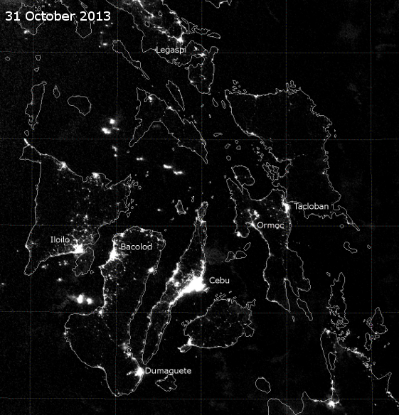 VIIRS Day/Night Band image of the central Philippines, taken 16:50 UTC 31 October 2013