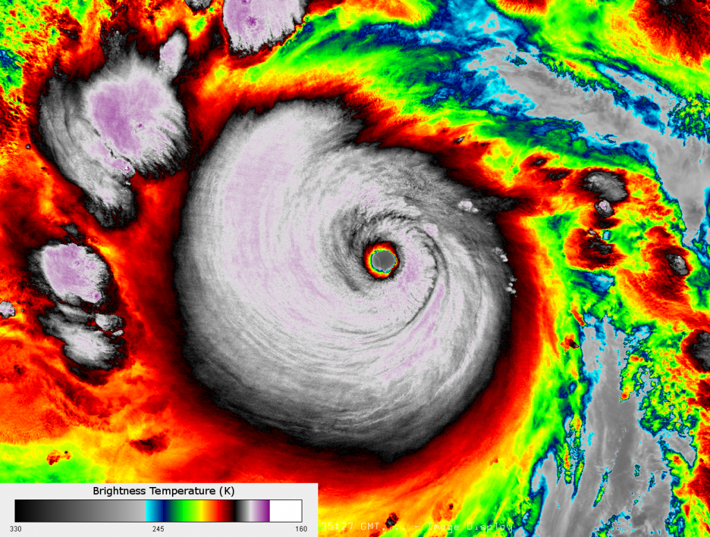 VIIRS infrared (I-5) image of Typhoon Haiyan (Yolanda), taken 16:39 UTC 6 November 2013