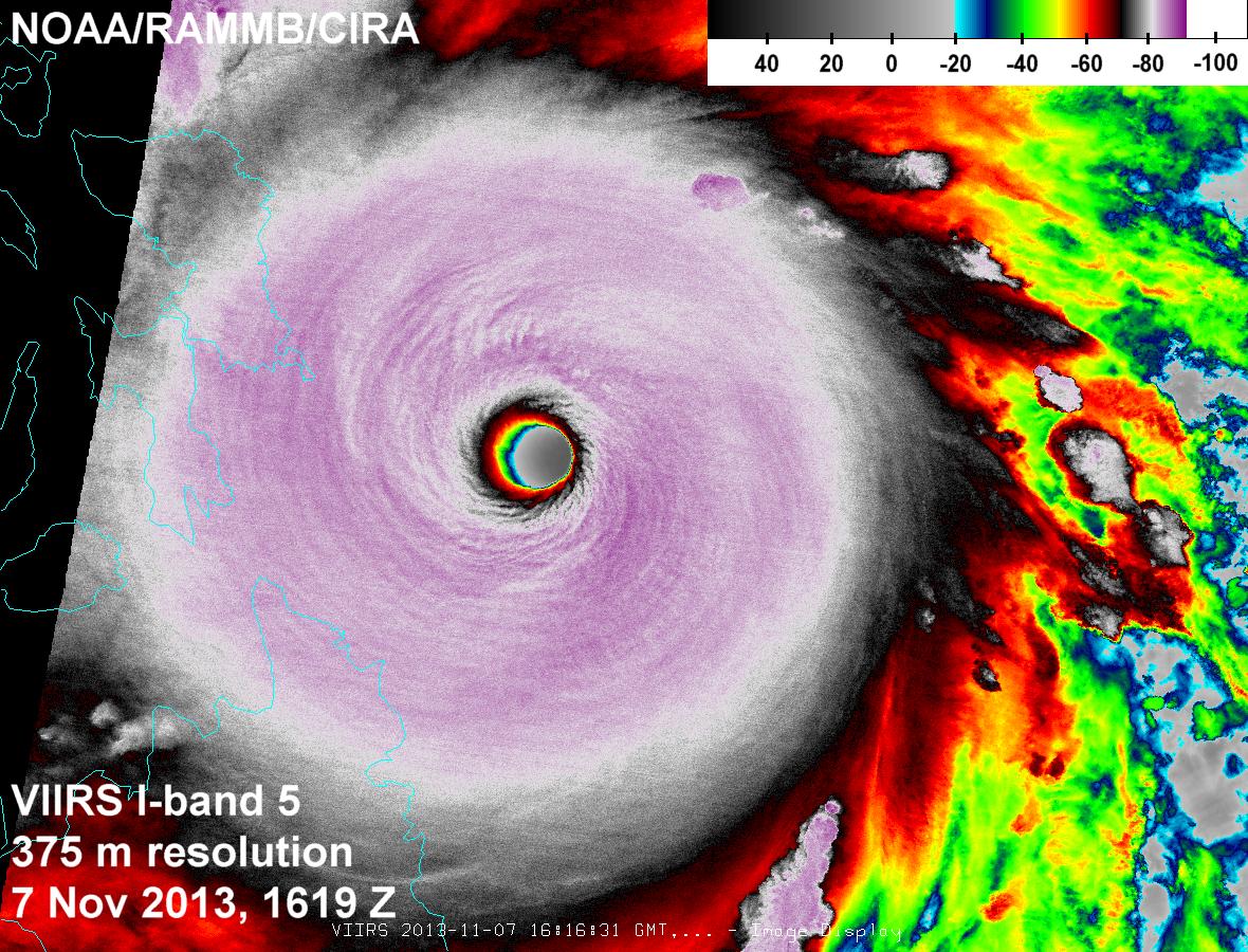 VIIRS infrared (I-5) image of Super Typhoon Haiyan (Yolanda) taken 16:16 UTC 7 November 2013