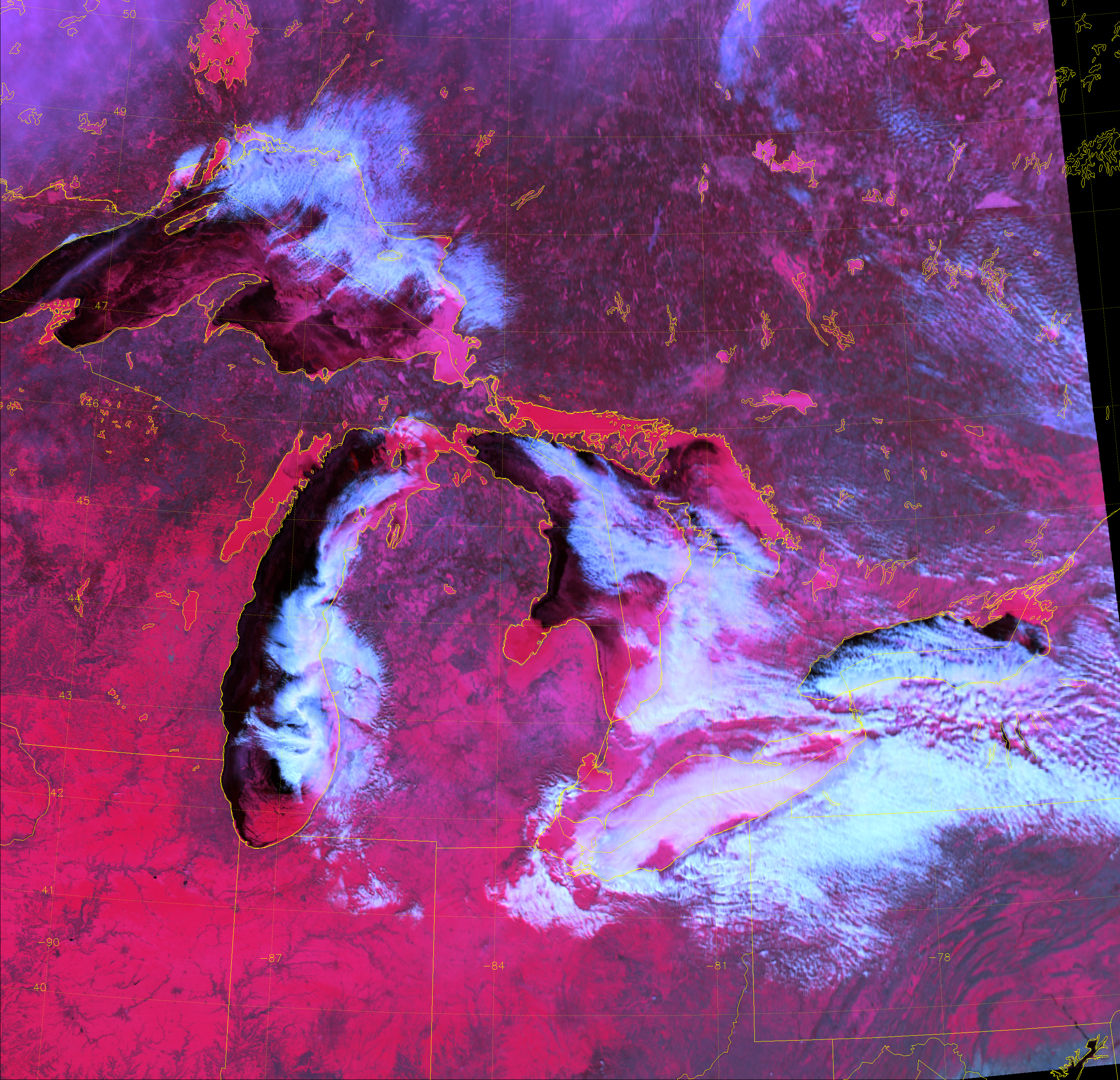 "VIIRS ""Snow"" RGB composite of channels M-11, M-10 and M-7, taken 19:07 UTC 11 February 2014"