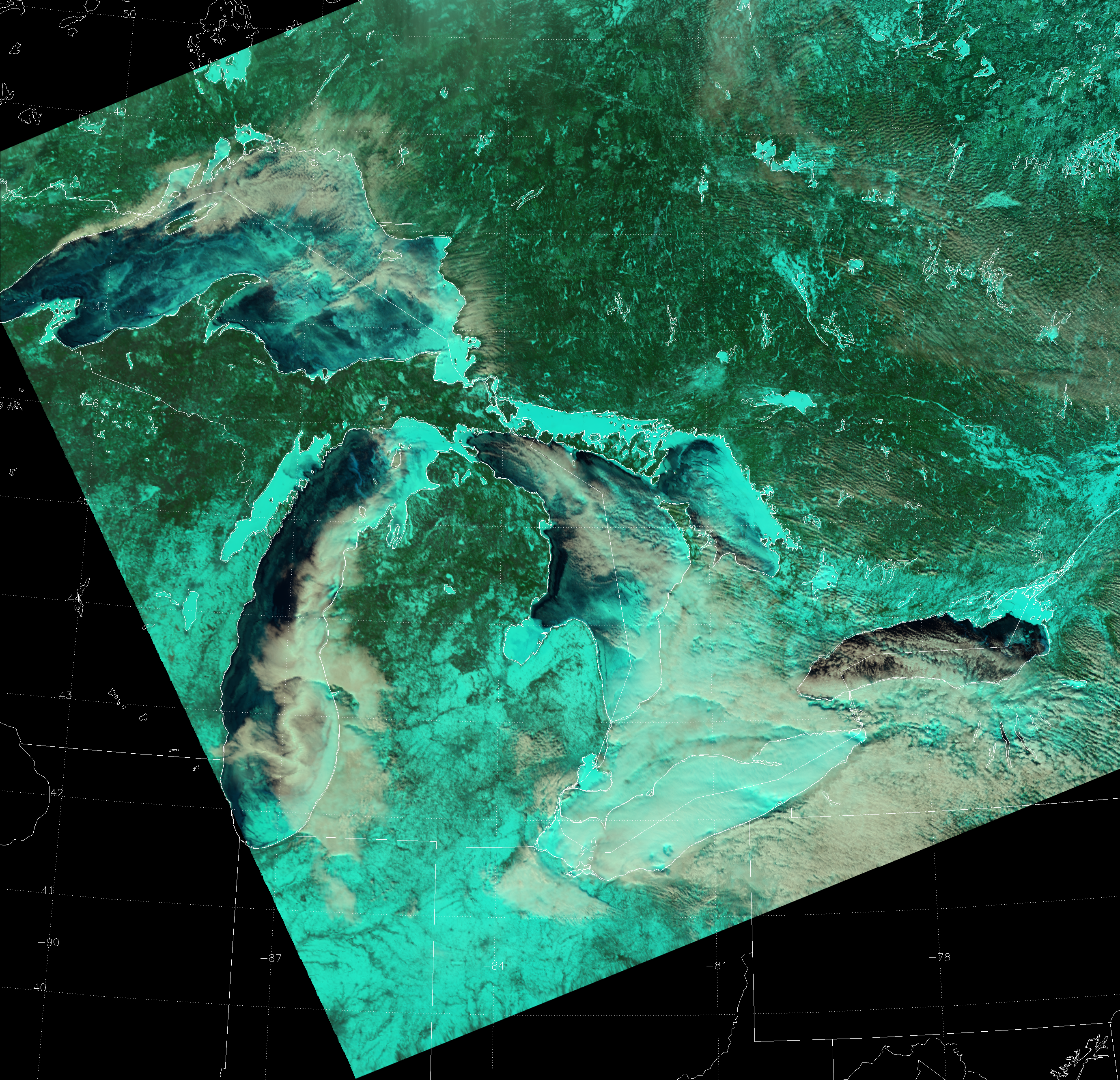 "VIIRS ""Natural Color"" RGB composite of channels I-01, I-02 and I-03, taken 17:27 UTC 11 February 2014"