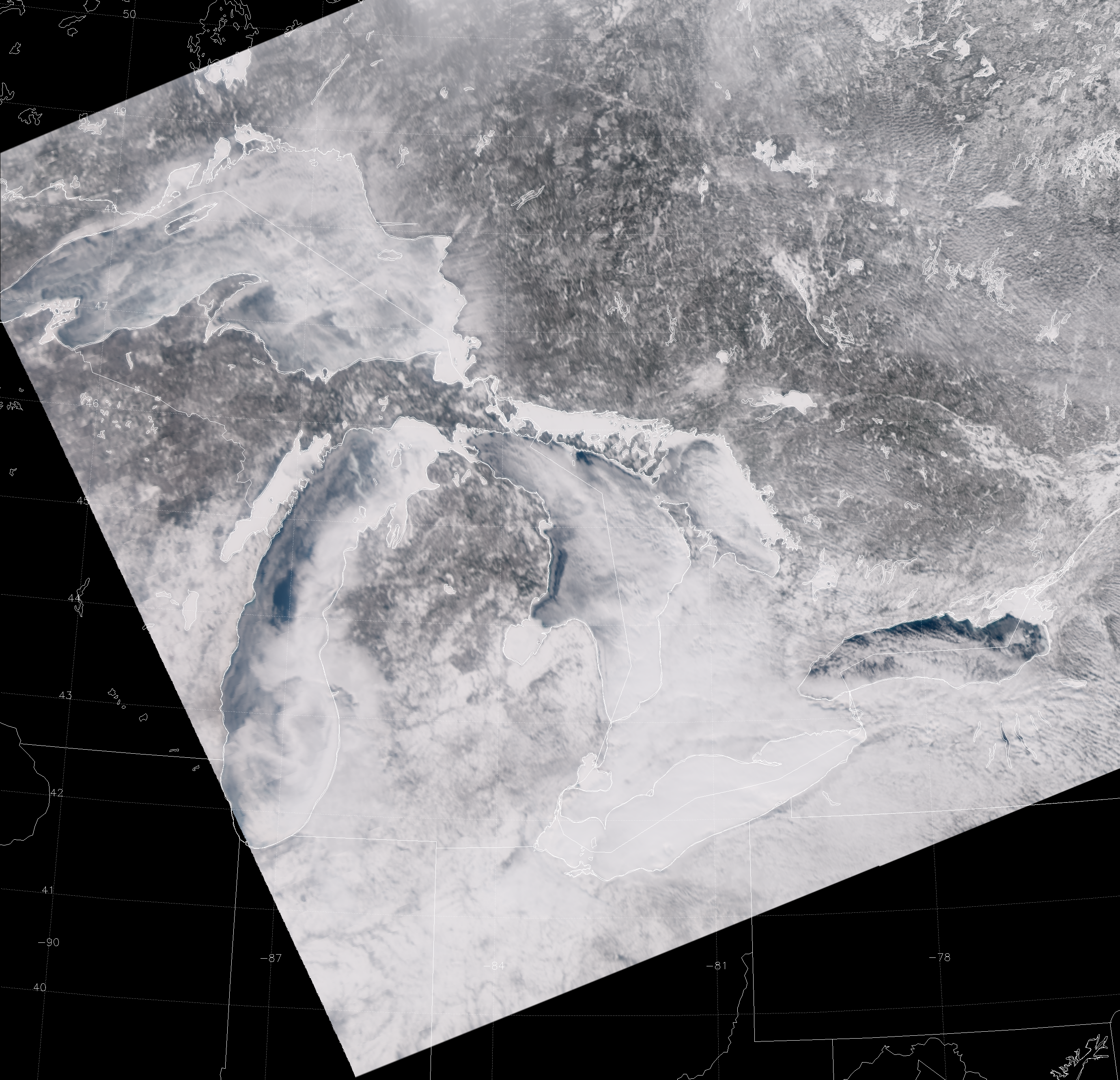 "VIIRS ""True Color"" RGB composite of channels M-3, M-4 and M-5, taken 17:27 UTC 11 February 2014"