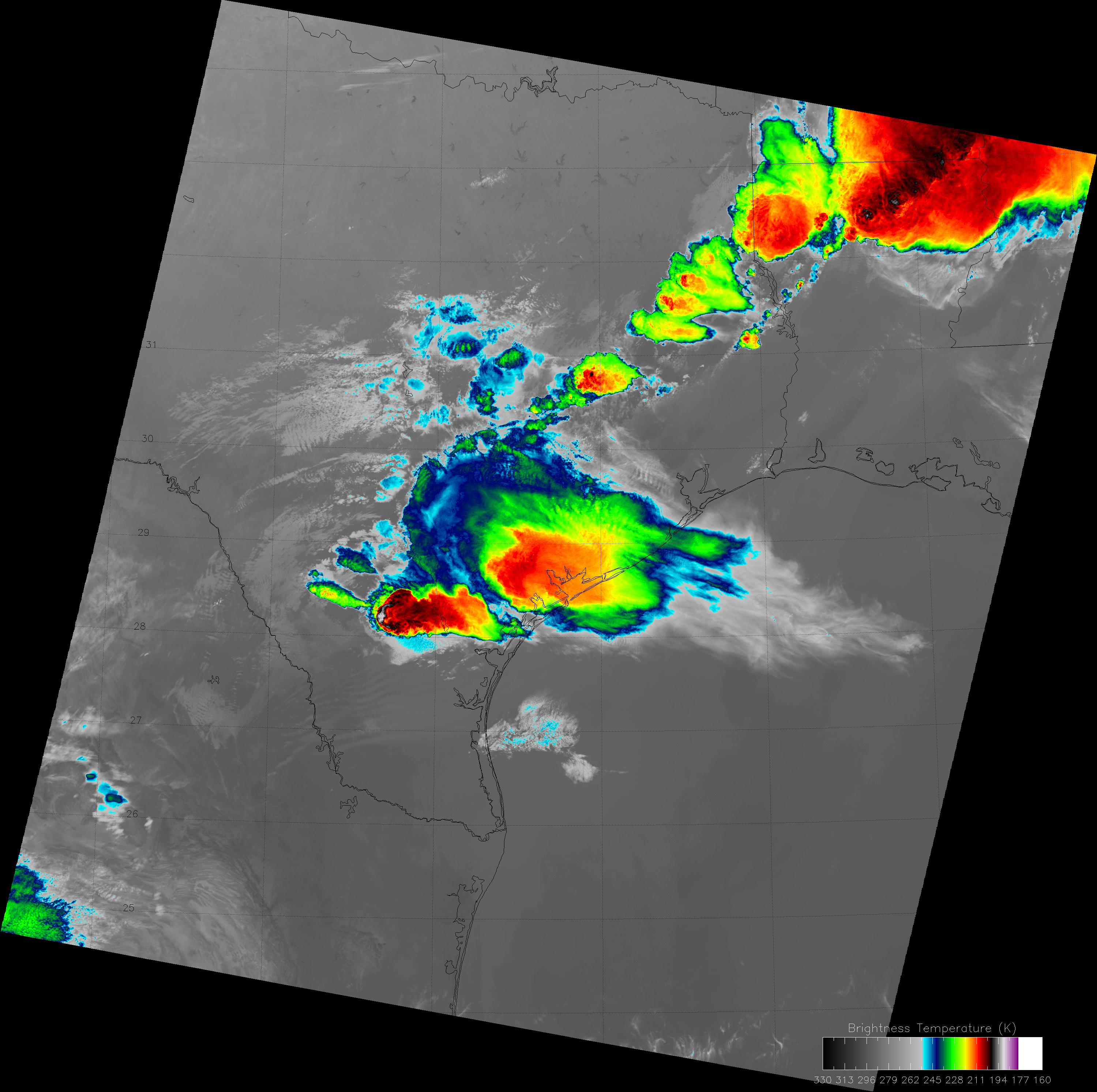 VIIRS high-resolution IR image (channel I-5), taken at 08:13 UTC 4 April 2013.