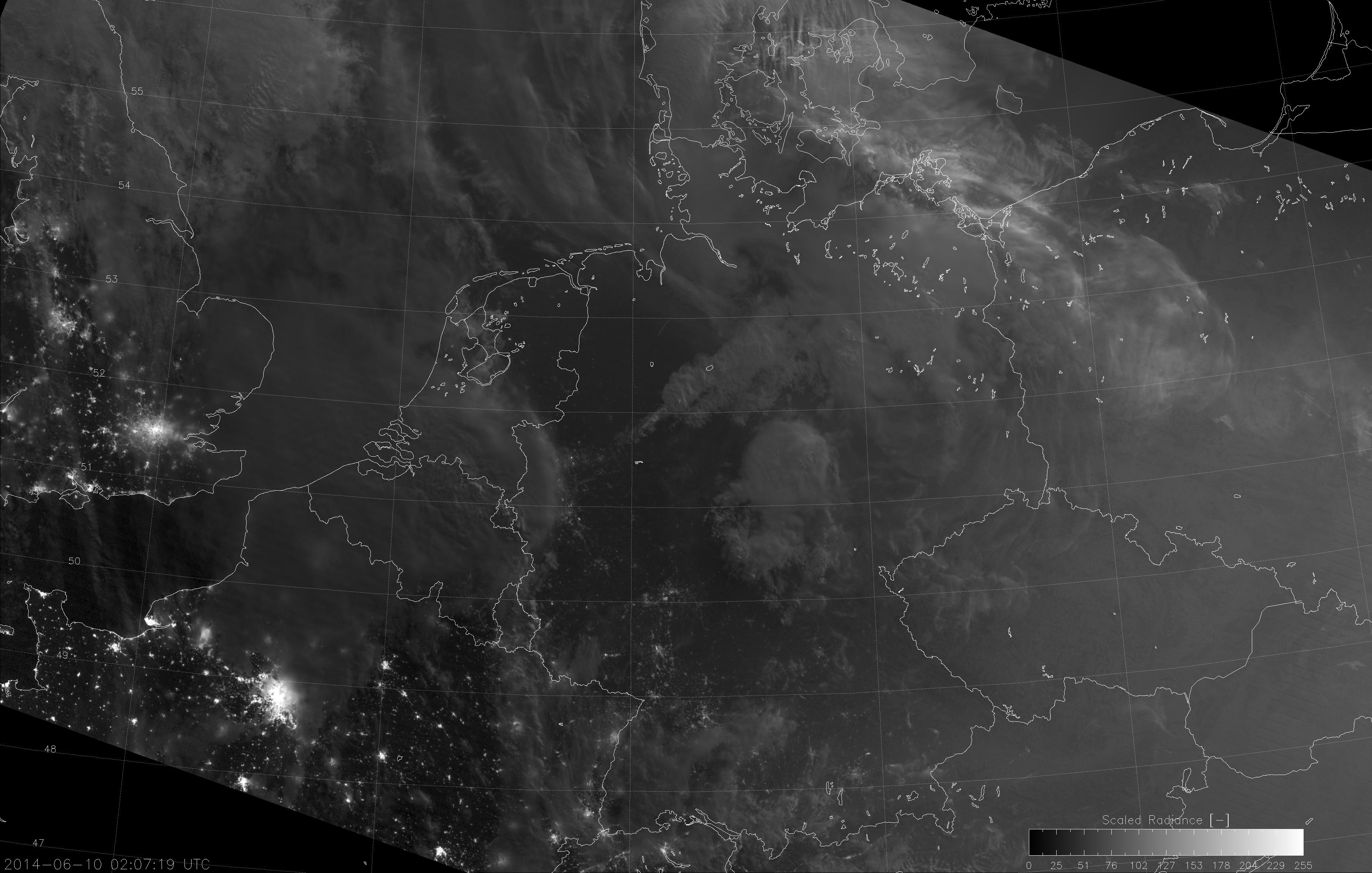 VIIRS Day/Night Band image, taken 02:07 UTC 10 June 2014