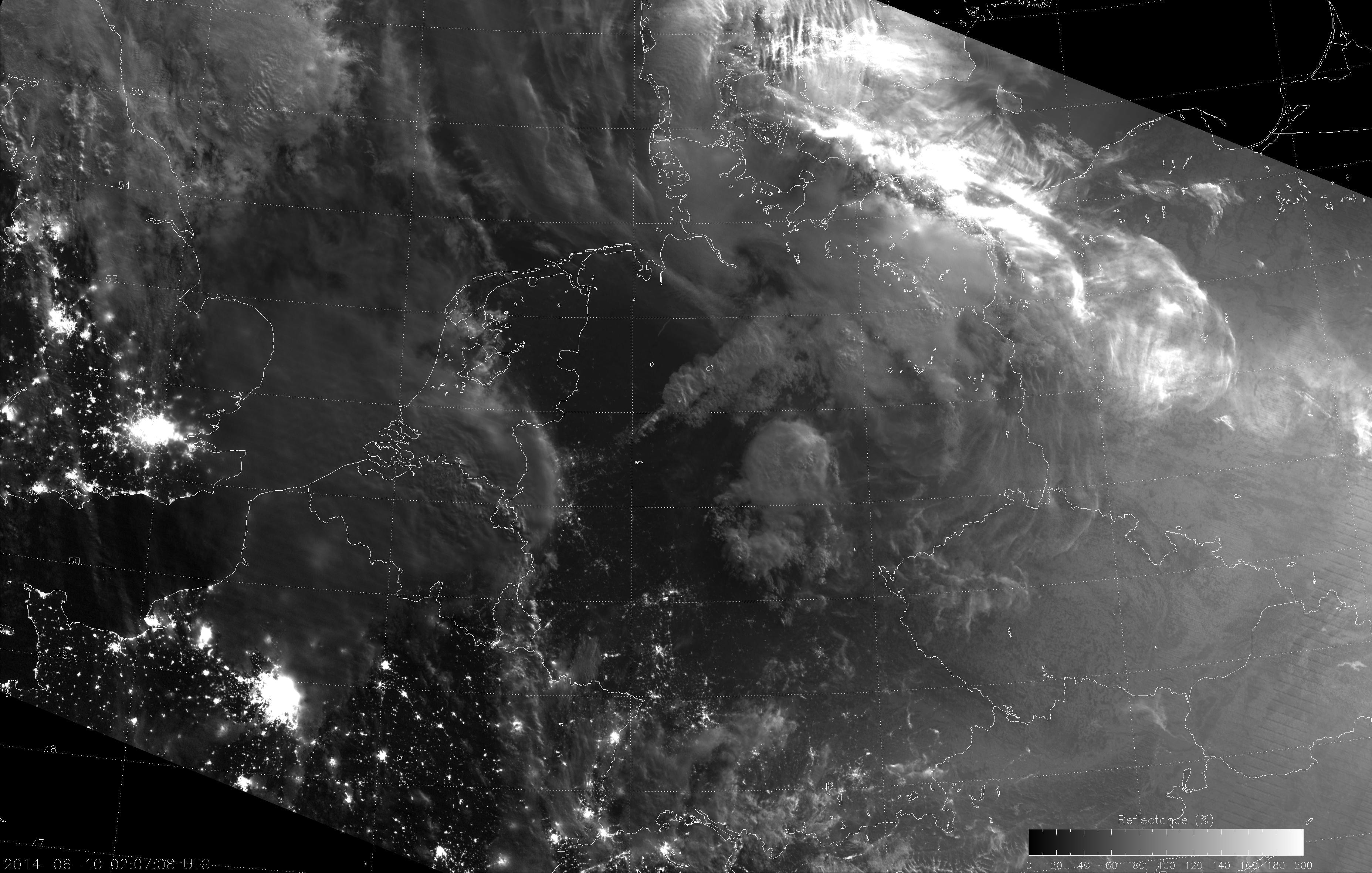 VIIRS NCC image, taken at 02:07 UTC 10 June 2014