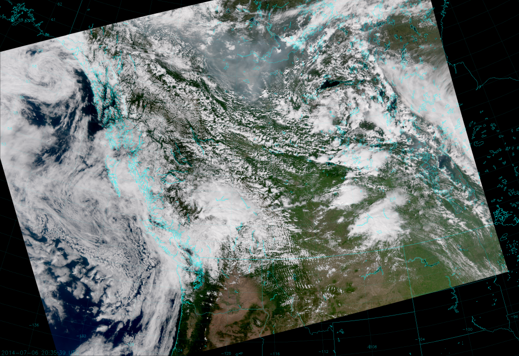 VIIRS True Color RGB composite of channels M-3, M-4 and M-5, taken 20:35 UTC 6 July 2014