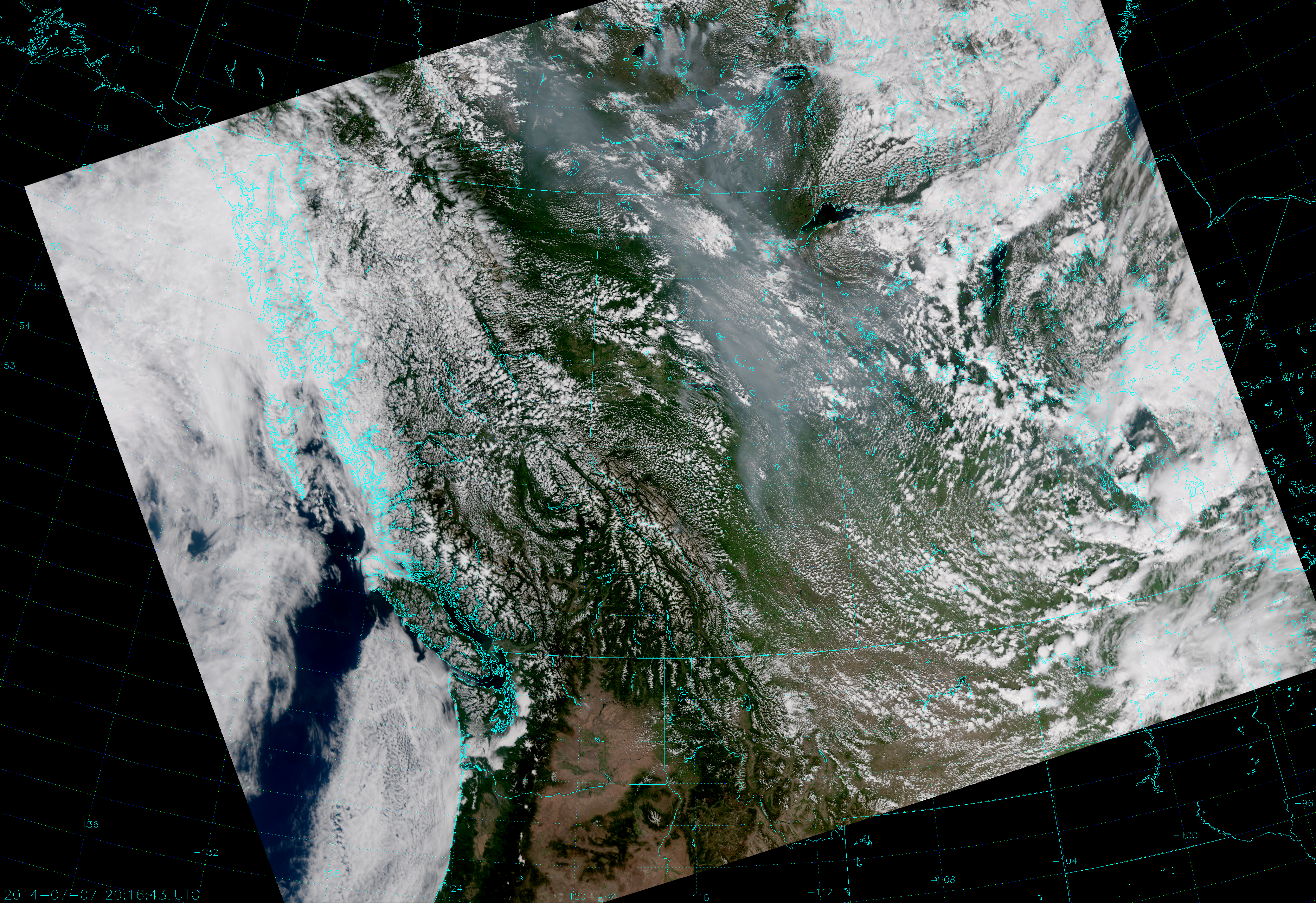 VIIRS True Color RGB composite of channels M-3, M-4 and M-5, taken 20:16 UTC 7 July 2014
