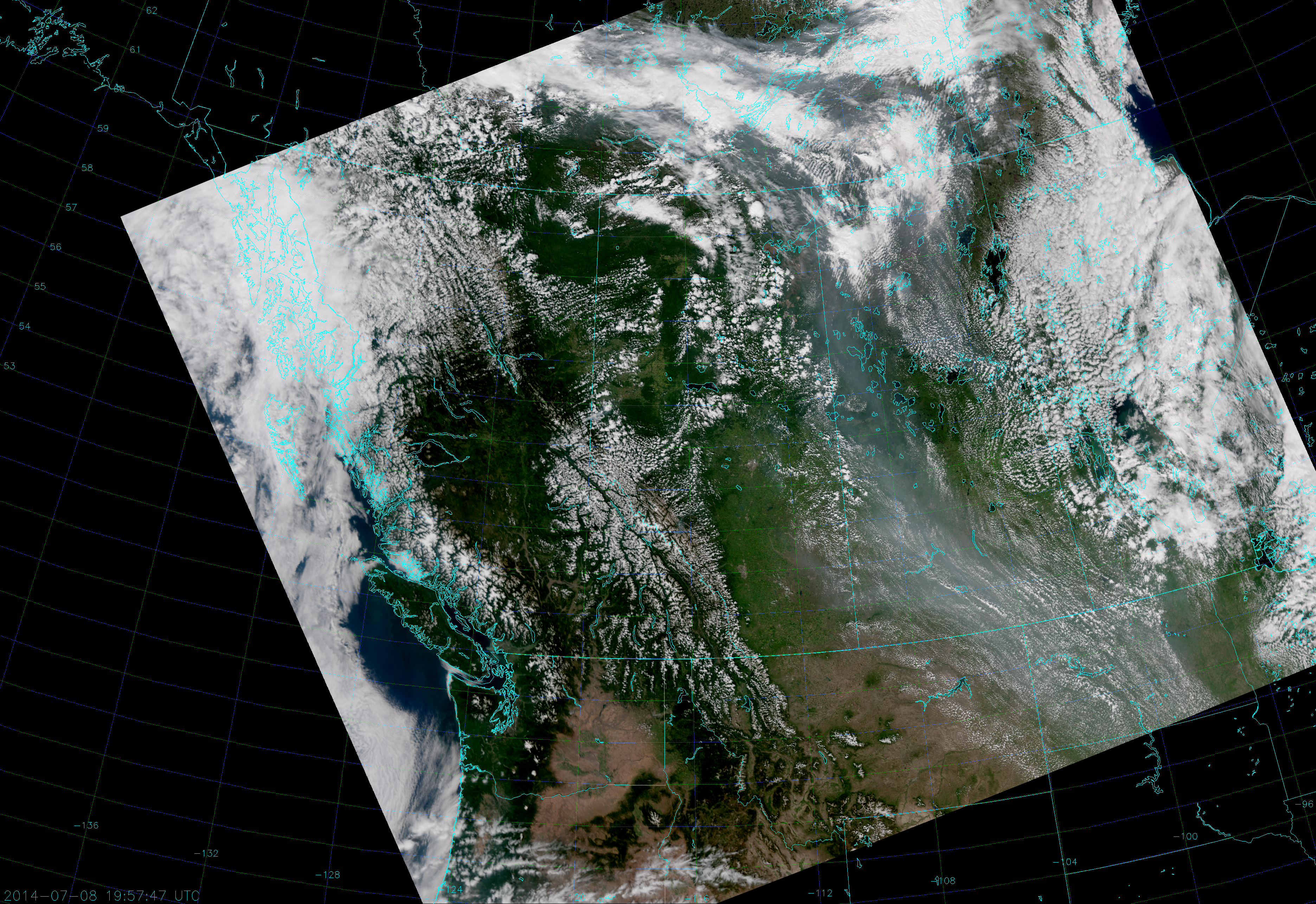 VIIRS True Color RGB composite of channels M-3, M-4 and M-5, taken 19:57 UTC 8 July 2014