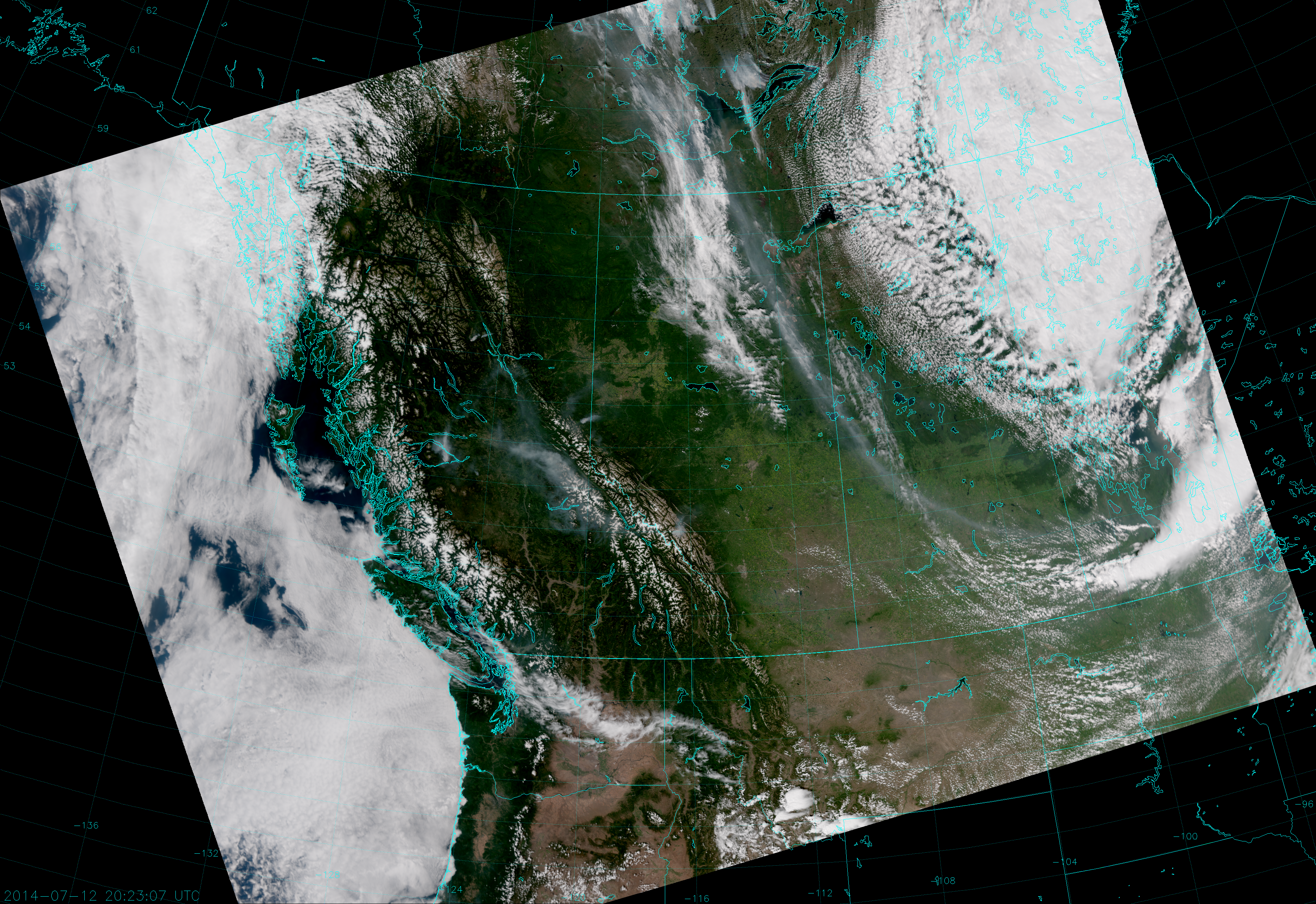 VIIRS True Color RGB composite of channels M-3, M-4 and M-5, taken 20:23 UTC 12 July 2014