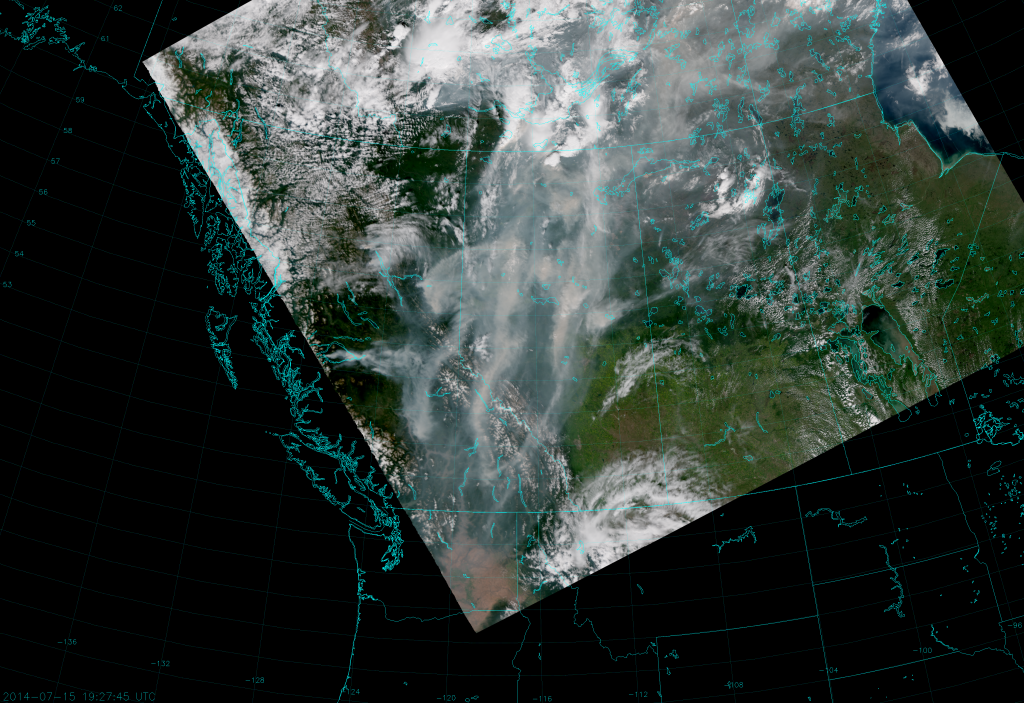 VIIRS True Color RGB composite of channels M-3, M-4 and M-5, taken 19:27 UTC 15 July 2014