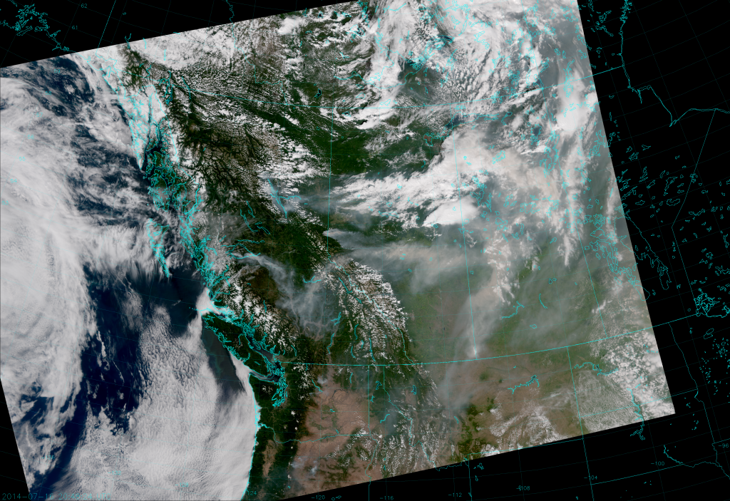 VIIRS True Color RGB composite of channels M-3, M-4 and M-5, taken 20:48 UTC 16 July 2014