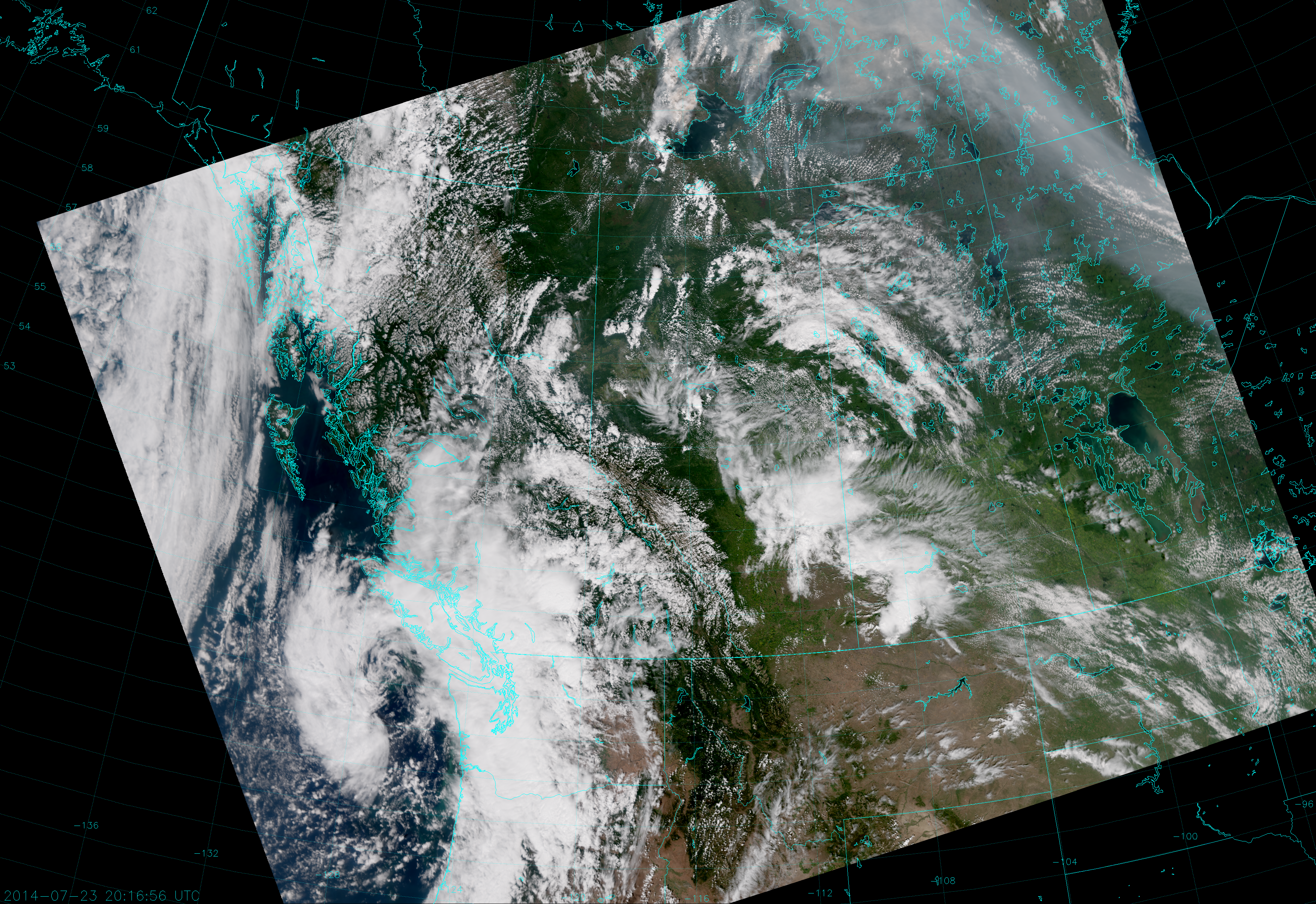 VIIRS True Color RGB composite of channels M-4, M-4 and M-5, taken 20:17 UTC 23 July 2014