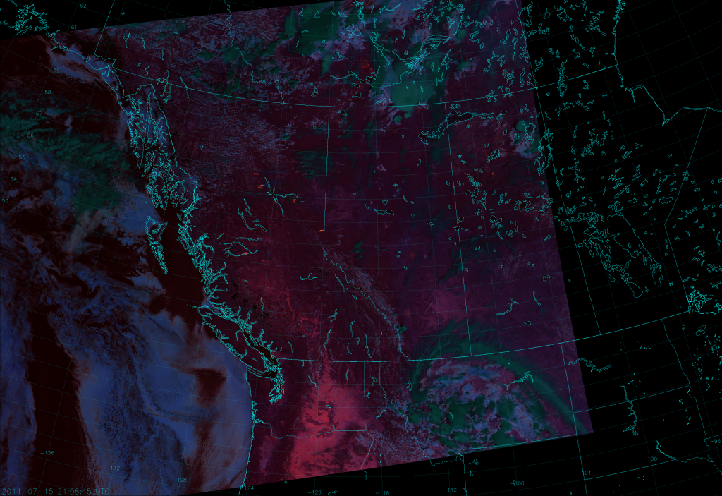 VIIRS Fire Temperature RGB composite of channels M-10, M-11 and M-12, taken 21:08 UTC 15 July 2014