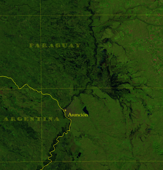 """VIIRS """"Natural Color"""" composite of the Paraguay River near Asuncion, 2 June 2014"""