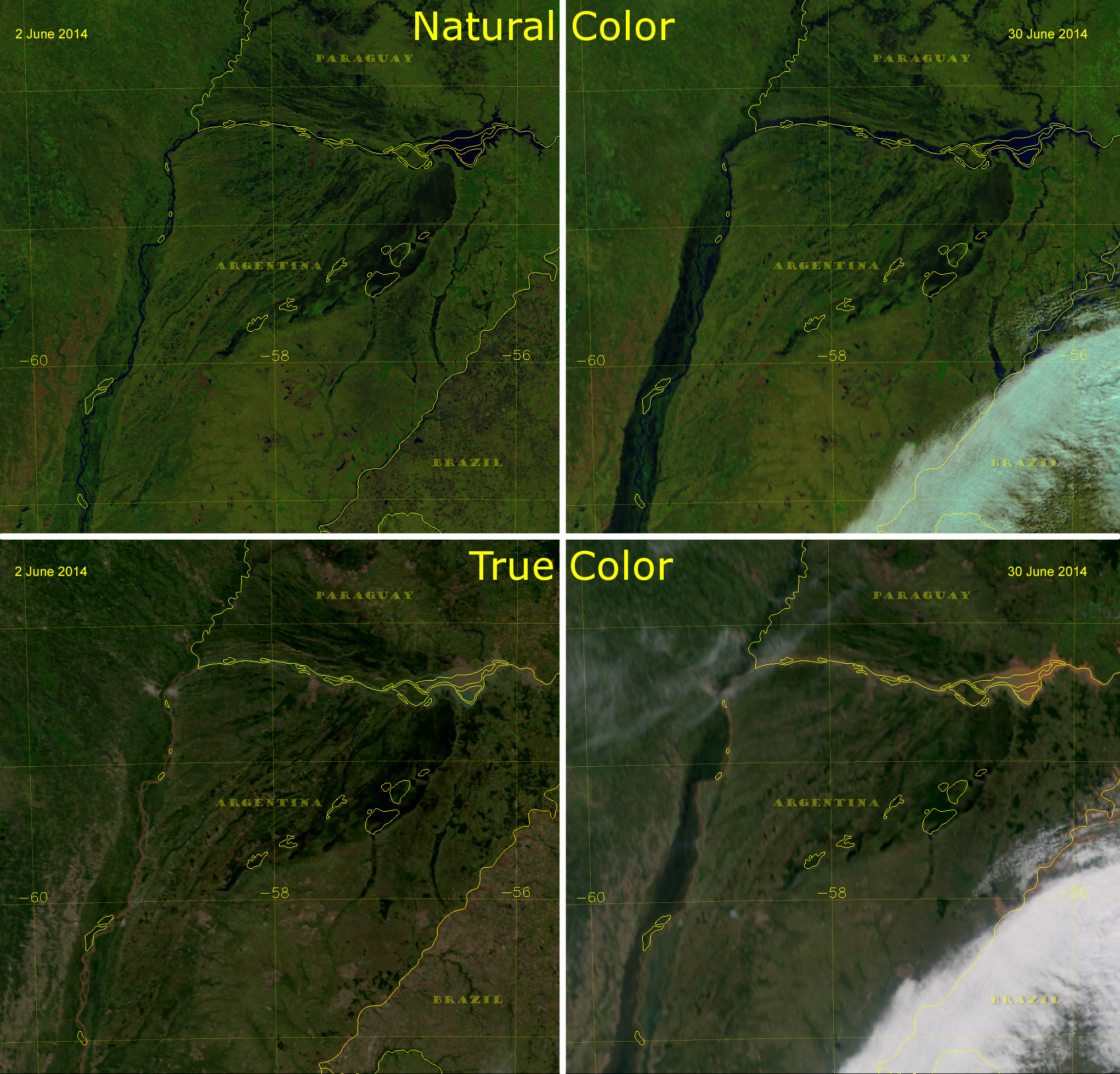 VIIRS Natural Color and True Color images of the Rio Parana, June 2014