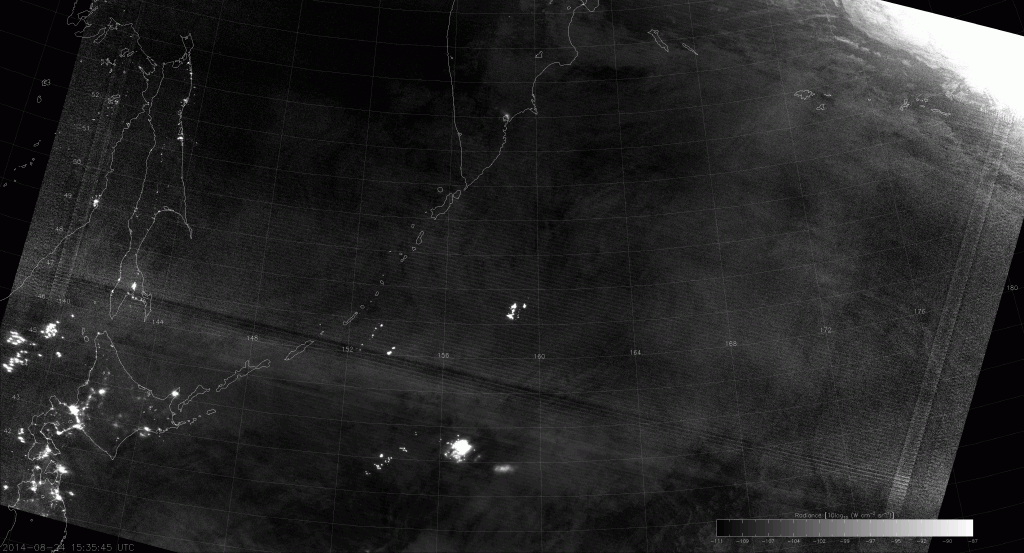 VIIRS Day/Night Band image from 15:35 UTC 24 August 2014.
