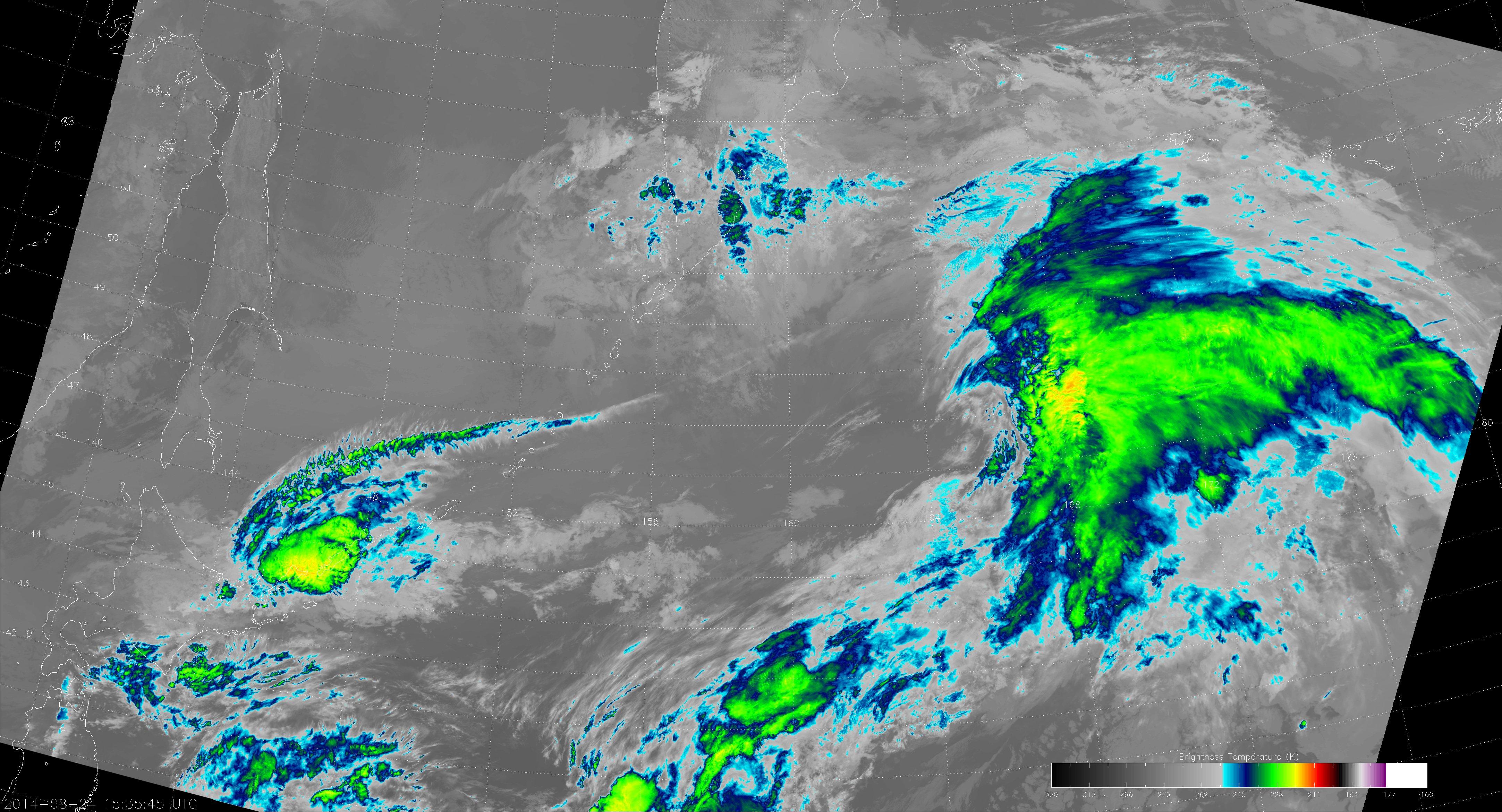 VIIRS M-15 image from 15:35 UTC 24 August 2014
