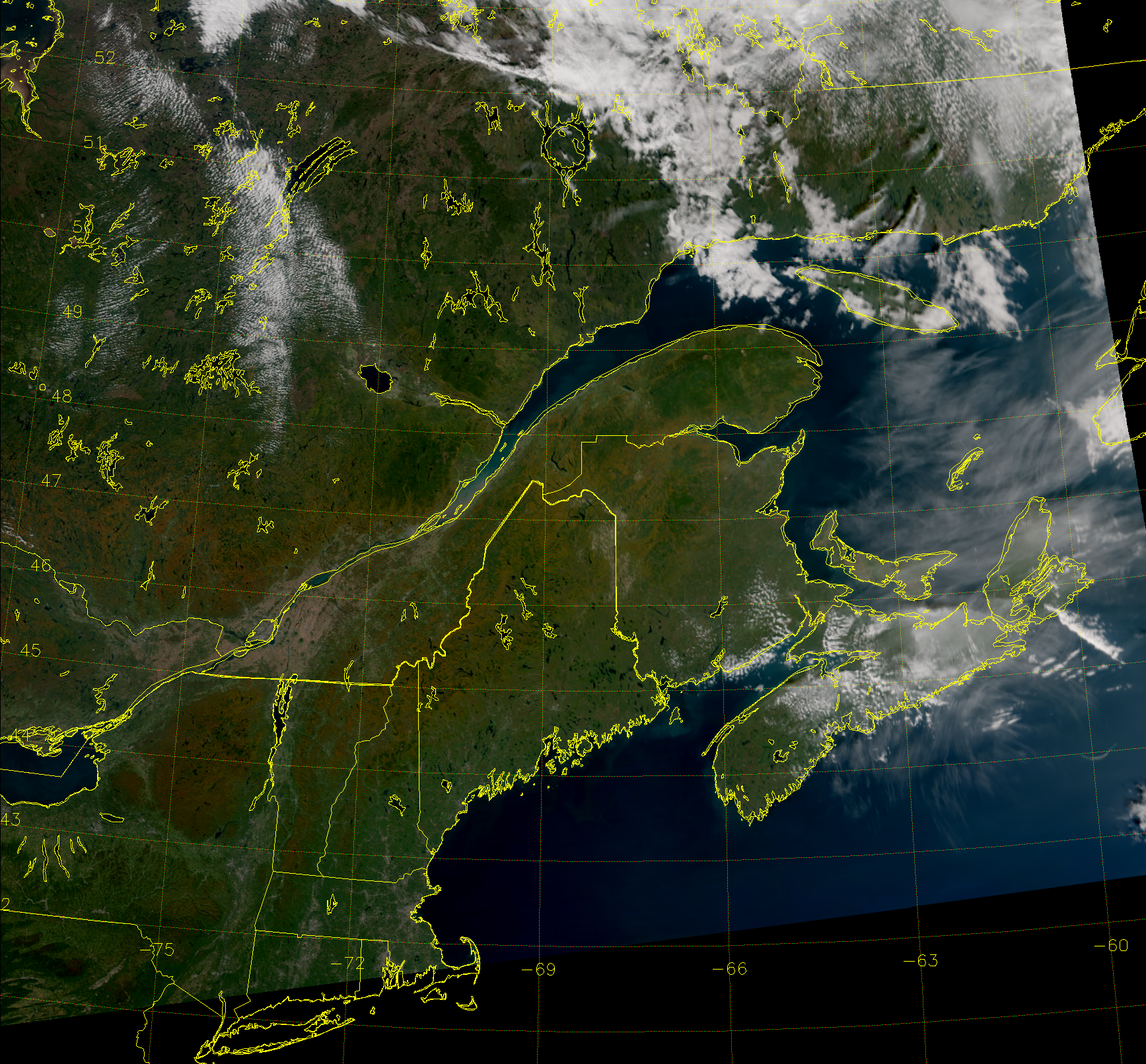 VIIRS True Color RGB composite of channels M-3, M-4 and M-5, taken 17:57 UTC 27 September 2014