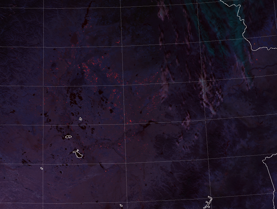 VIIRS Fire Temperature RGB image (as above) but zoomed in and lightened slightly