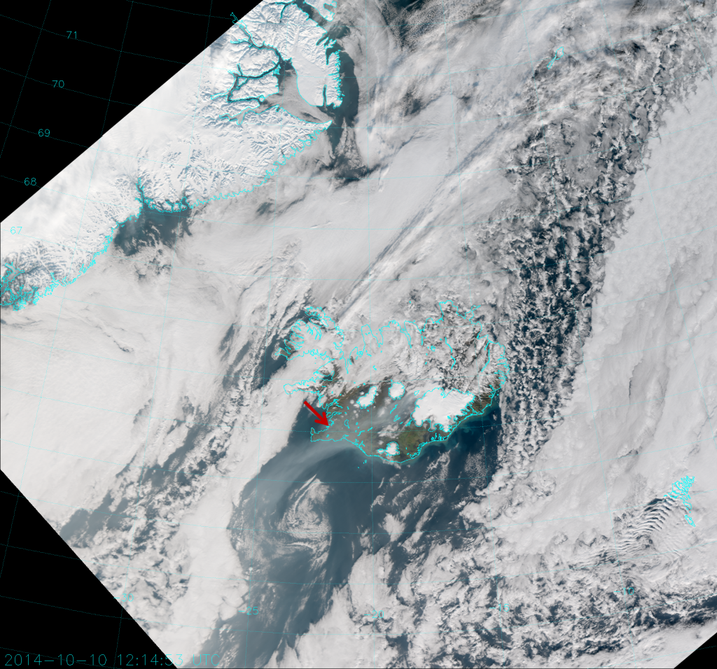 VIIRS True Color RGB composite of channels M-3, M-4 and M-5, taken 12:15 UTC 10 October 2014