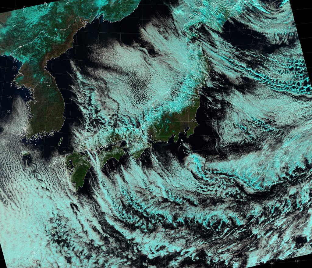 "VIIRS ""Natural Color"" RGB composite, taken 03:48 UTC 8 January 2015"