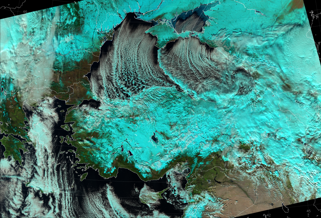 "VIIRS ""Natural Color"" RGB composite, taken 10:36 UTC 8 January 2015"