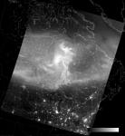 VIIRS DNB image of the aurora borealis, 07:57 UTC 17 March 2015