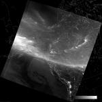 VIIRS DNB image of the aurora borealis, 11:19 UTC 17 March 2015