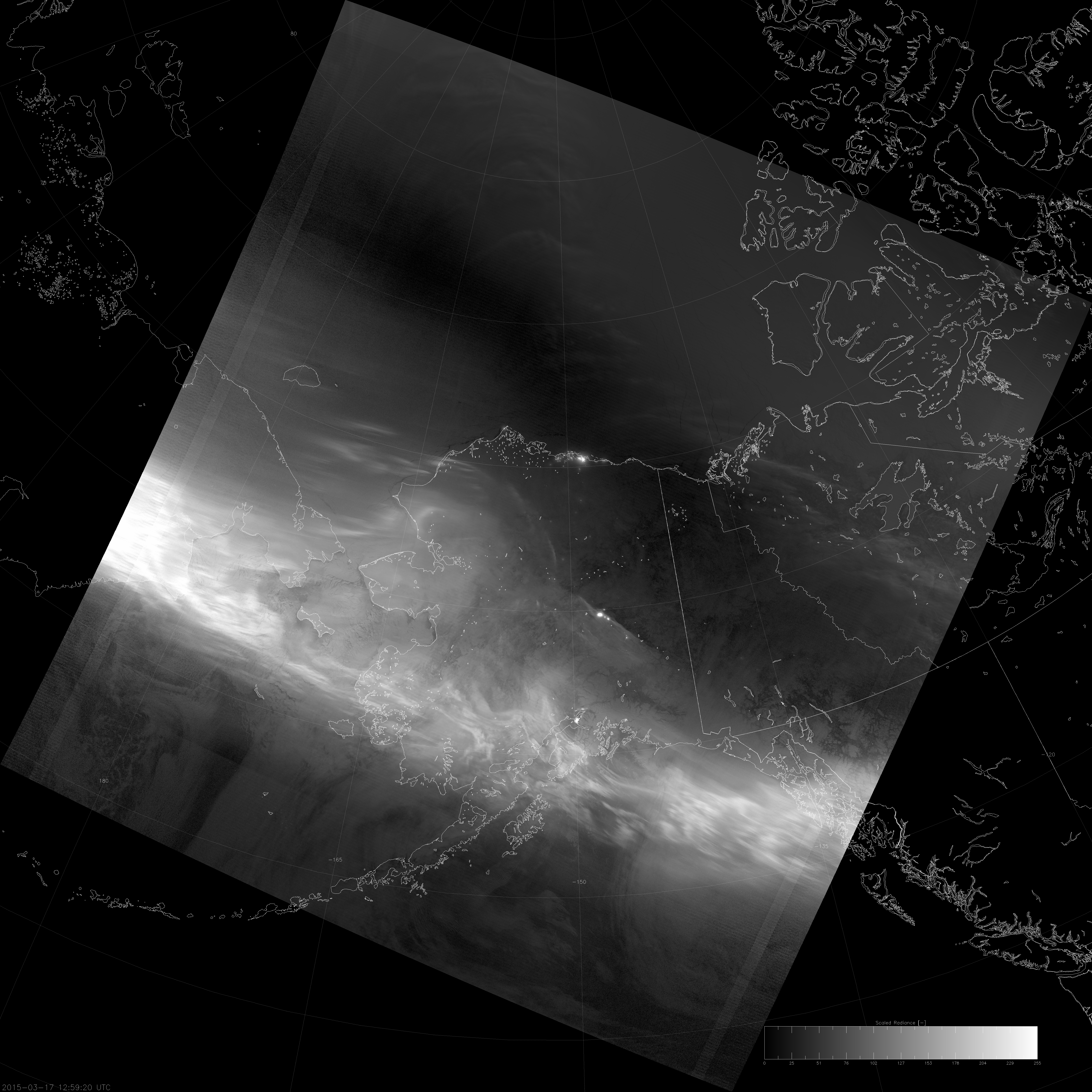 VIIRS DNB image of the aurora borealis, 12:59 UTC 17 March 2015