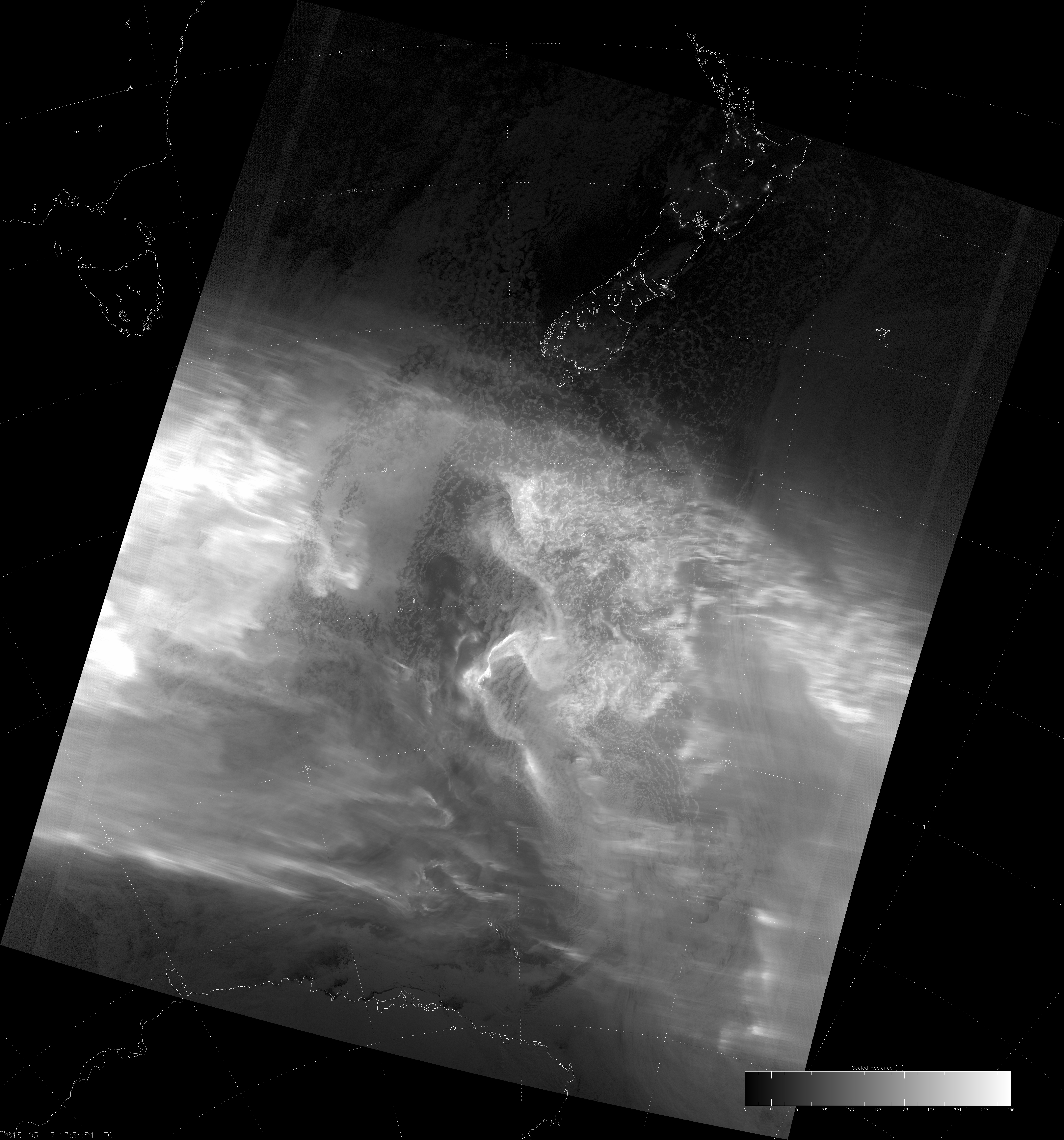 VIIRS DNB image of the aurora australis, 13:35 UTC 17 March 2015