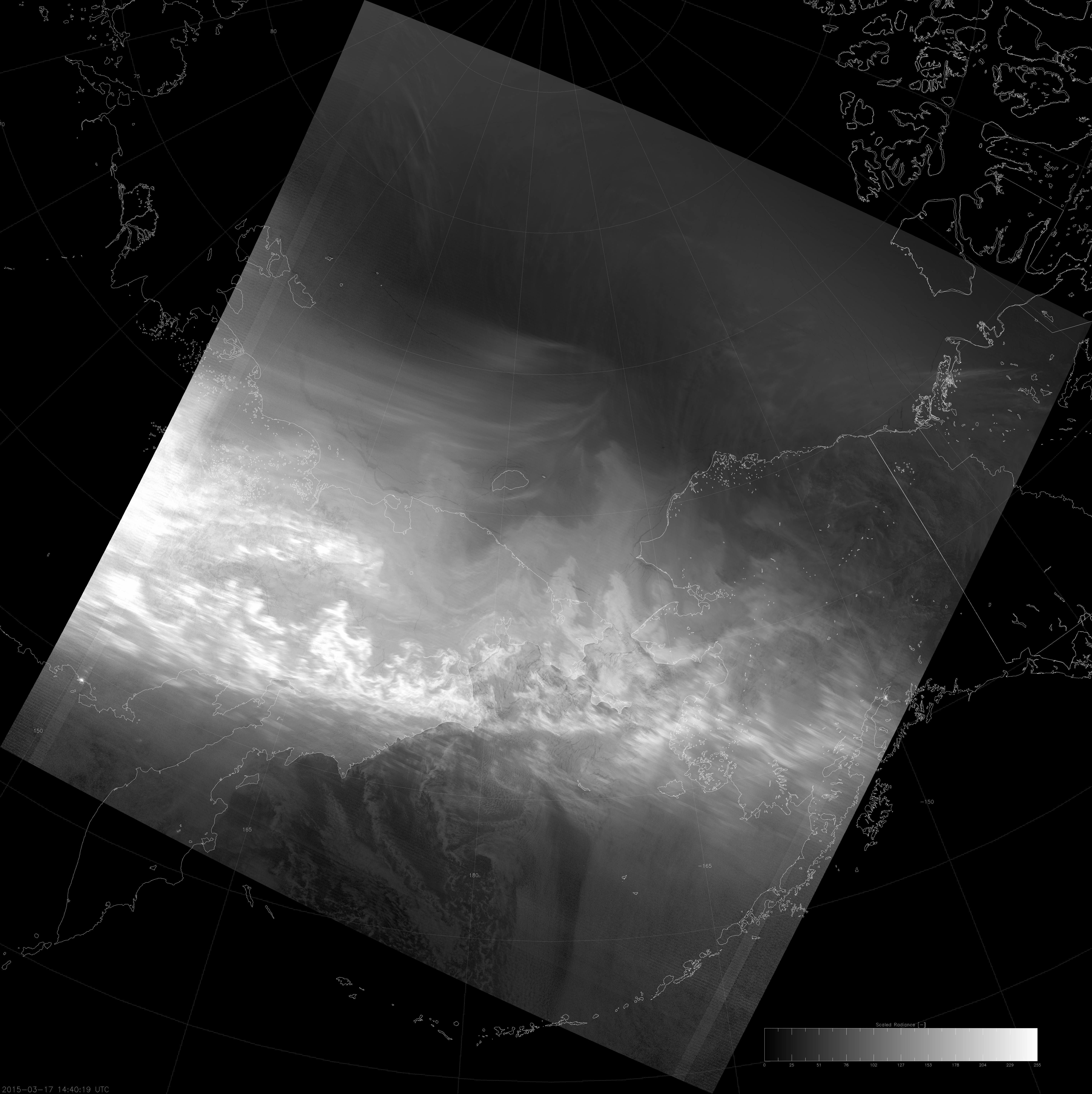 VIIRS DNB image of the aurora borealis, 14:40 UTC 17 March 2015