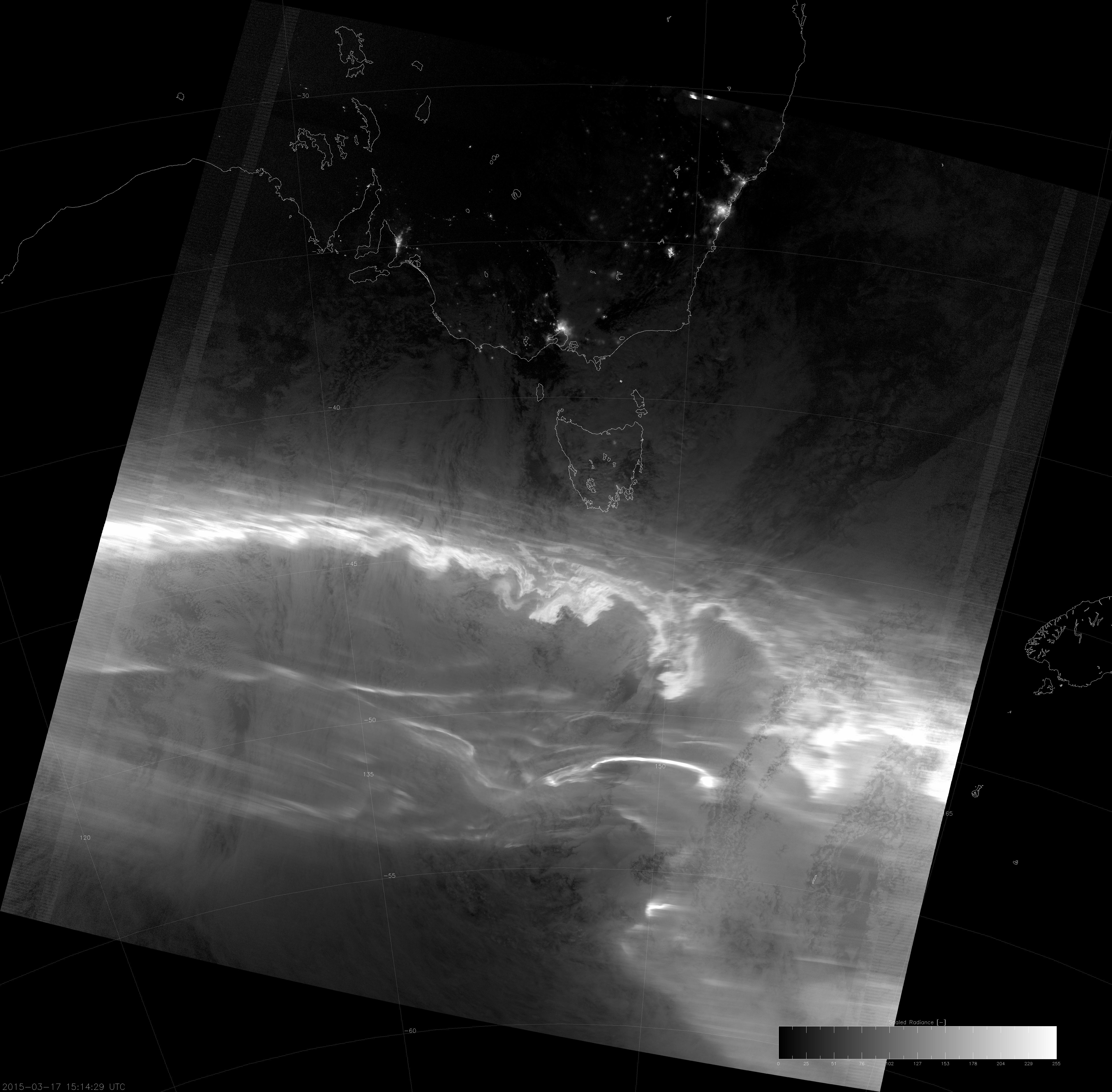 VIIRS DNB image of the aurora australis, 15:14 UTC 17 March 2015