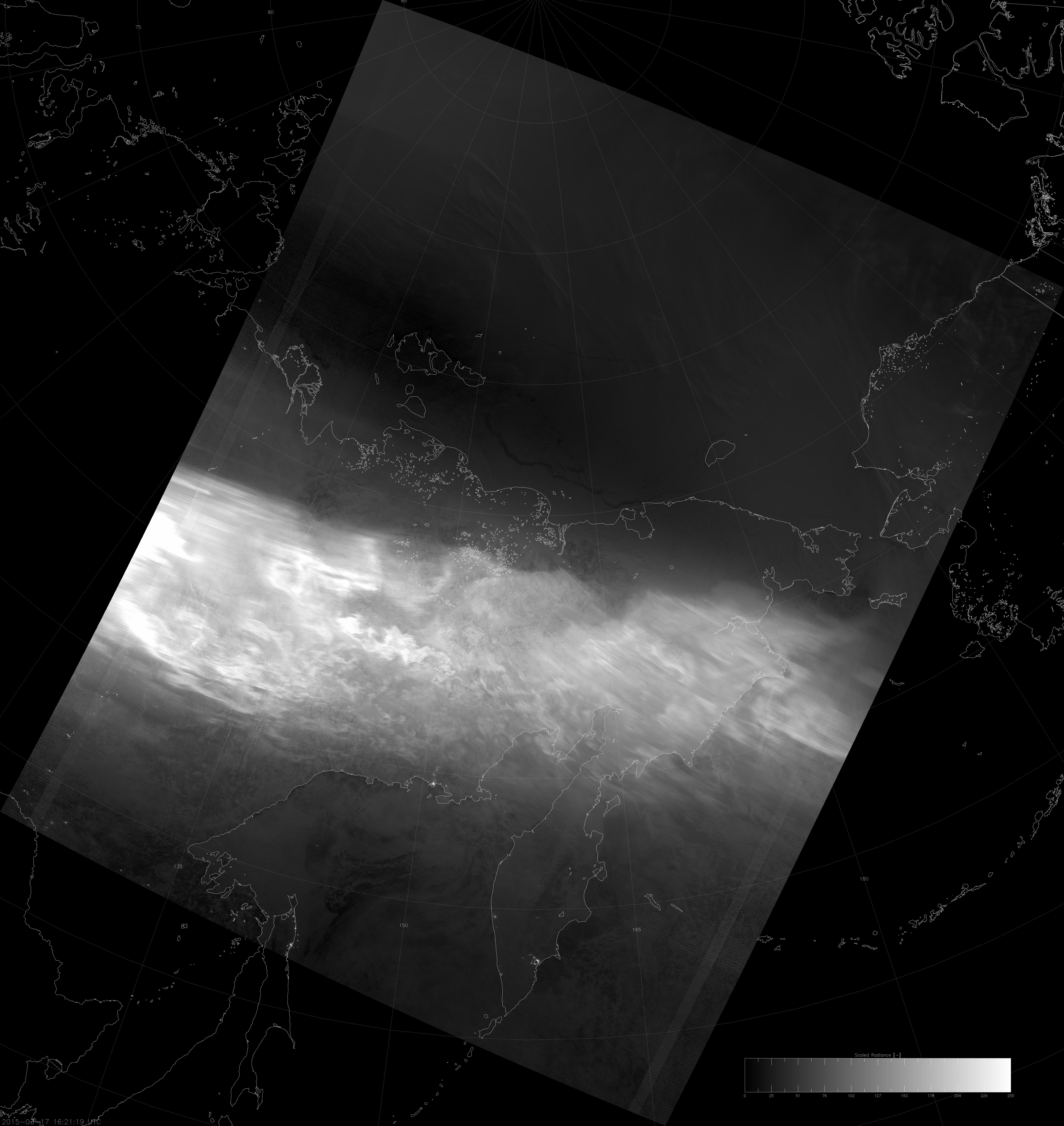 VIIRS DNB image of the aurora borealis, 16:21 UTC 17 March 2015