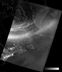 VIIRS DNB image of the aurora borealis, 05:56 UTC 18 March 2015
