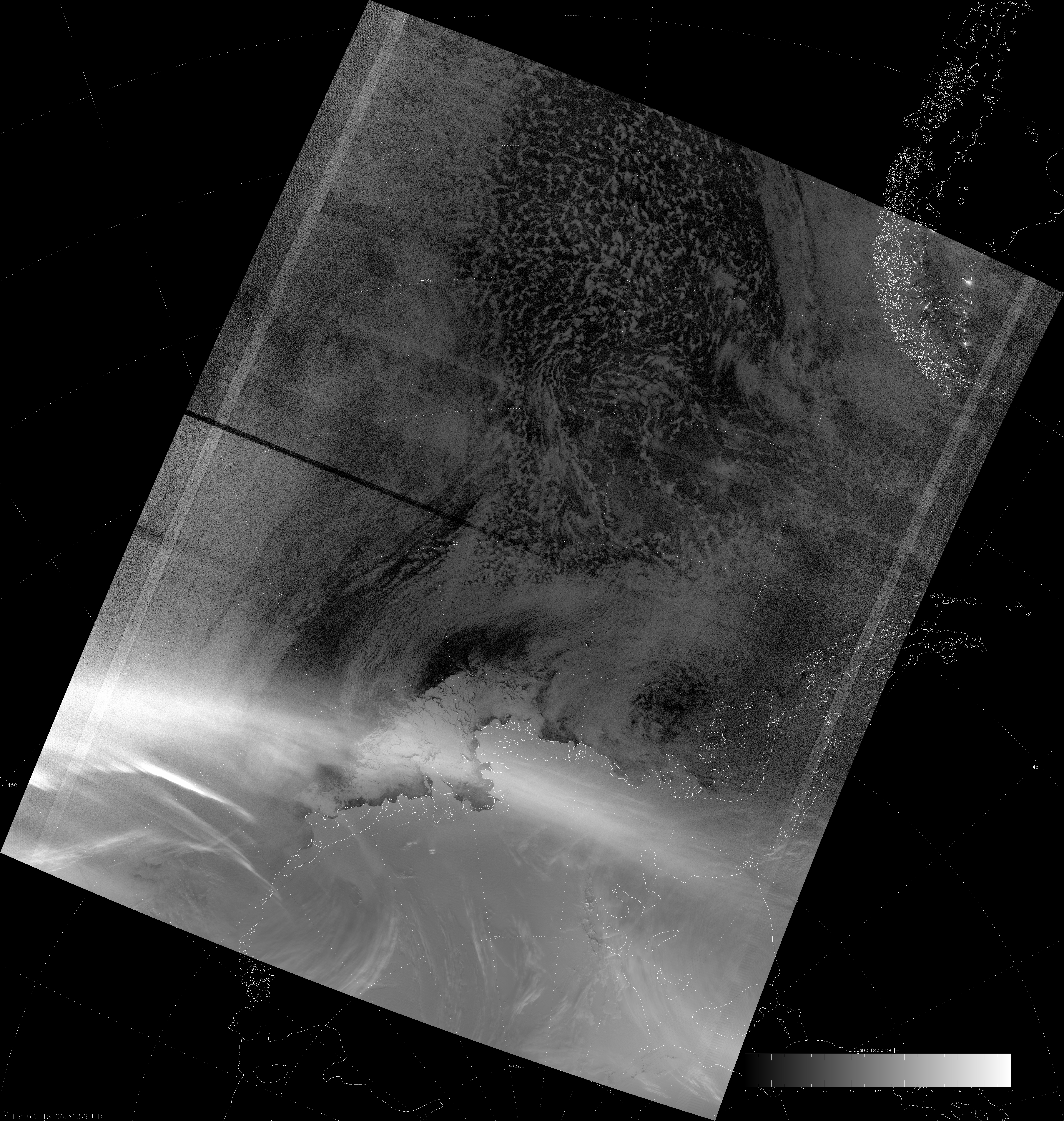 VIIRS DNB image of the aurora australis, 06:32 UTC 18 March 2015
