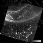 VIIRS DNB image of the aurora borealis, 07:40 UTC 18 March 2015