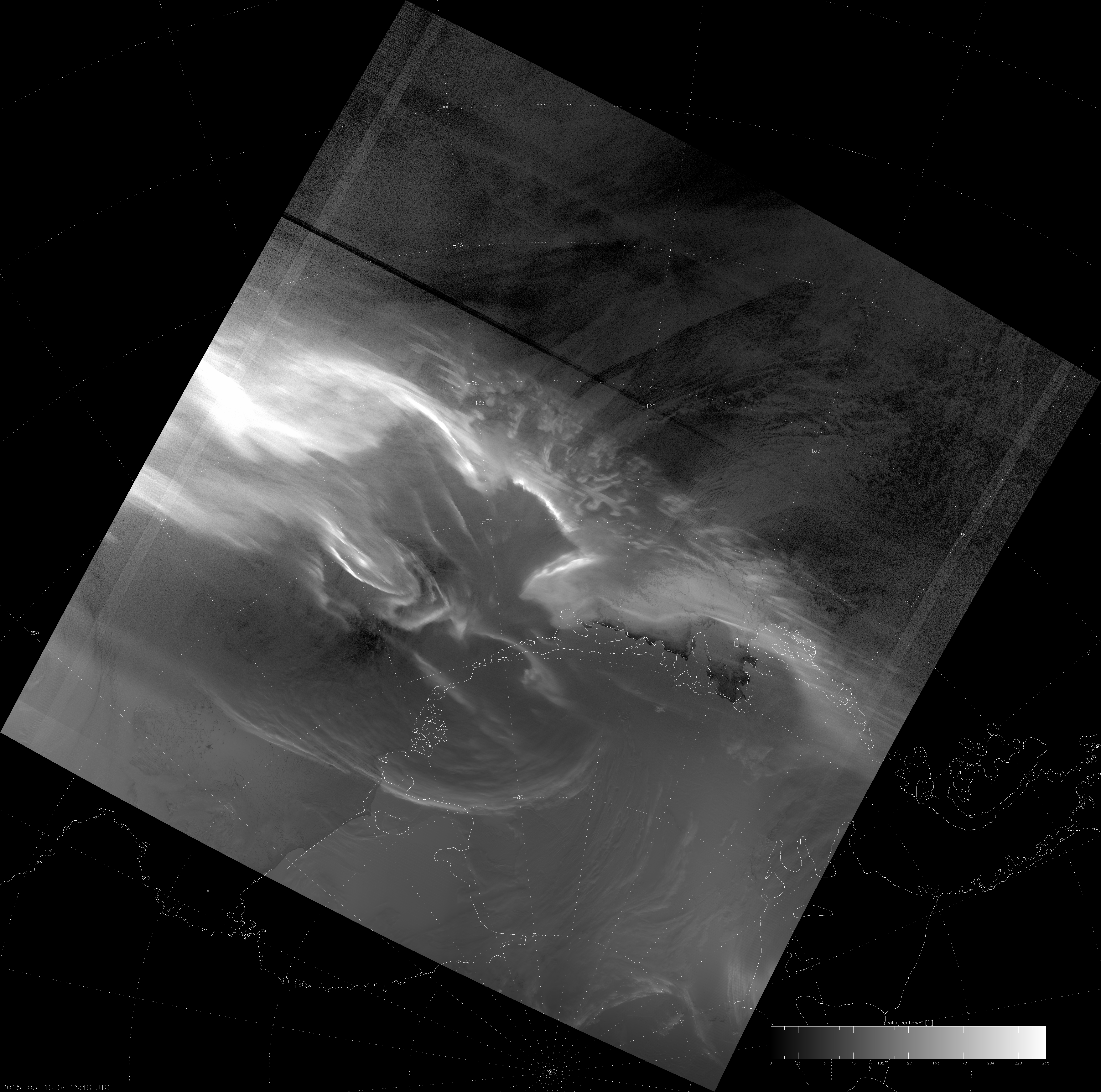 VIIRS DNB image of the aurora australis, 08:16 UTC 18 March 2015